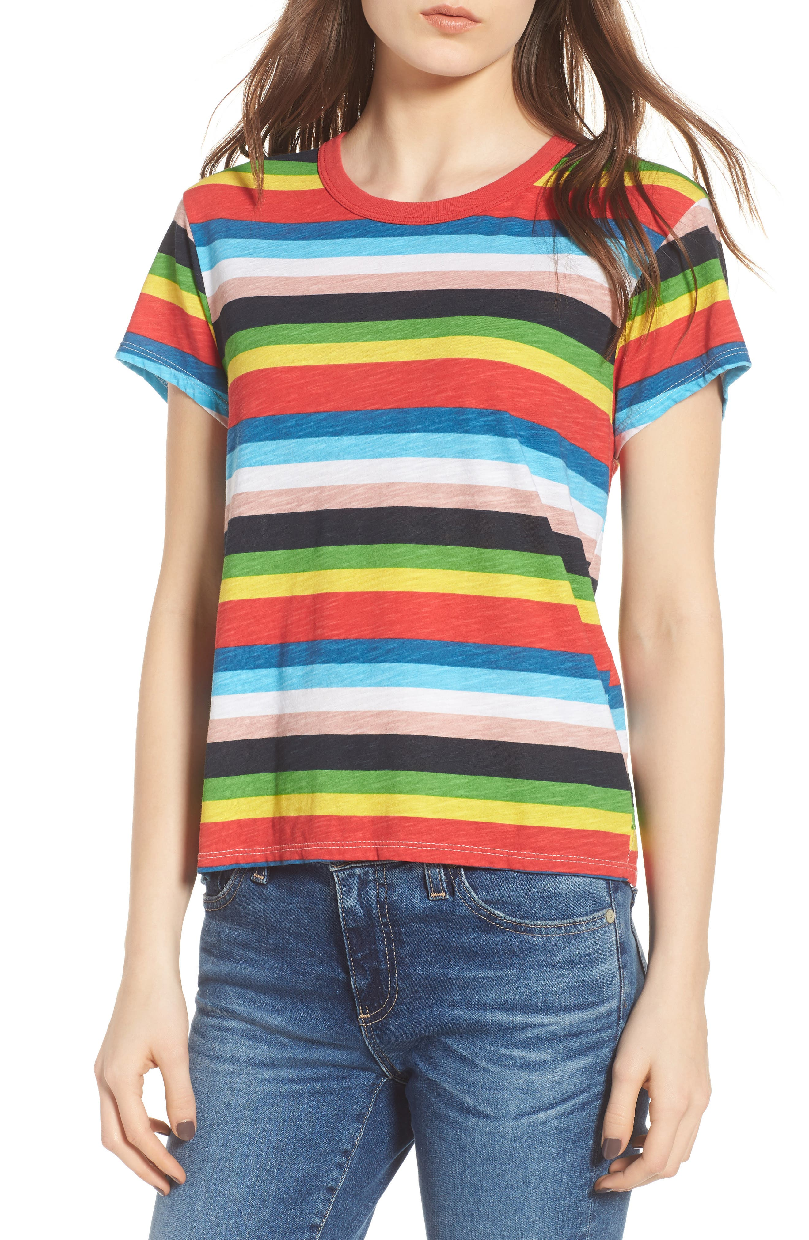 Rainbow Stripe Ringer Tee,                             Main thumbnail 1, color,                             Multi