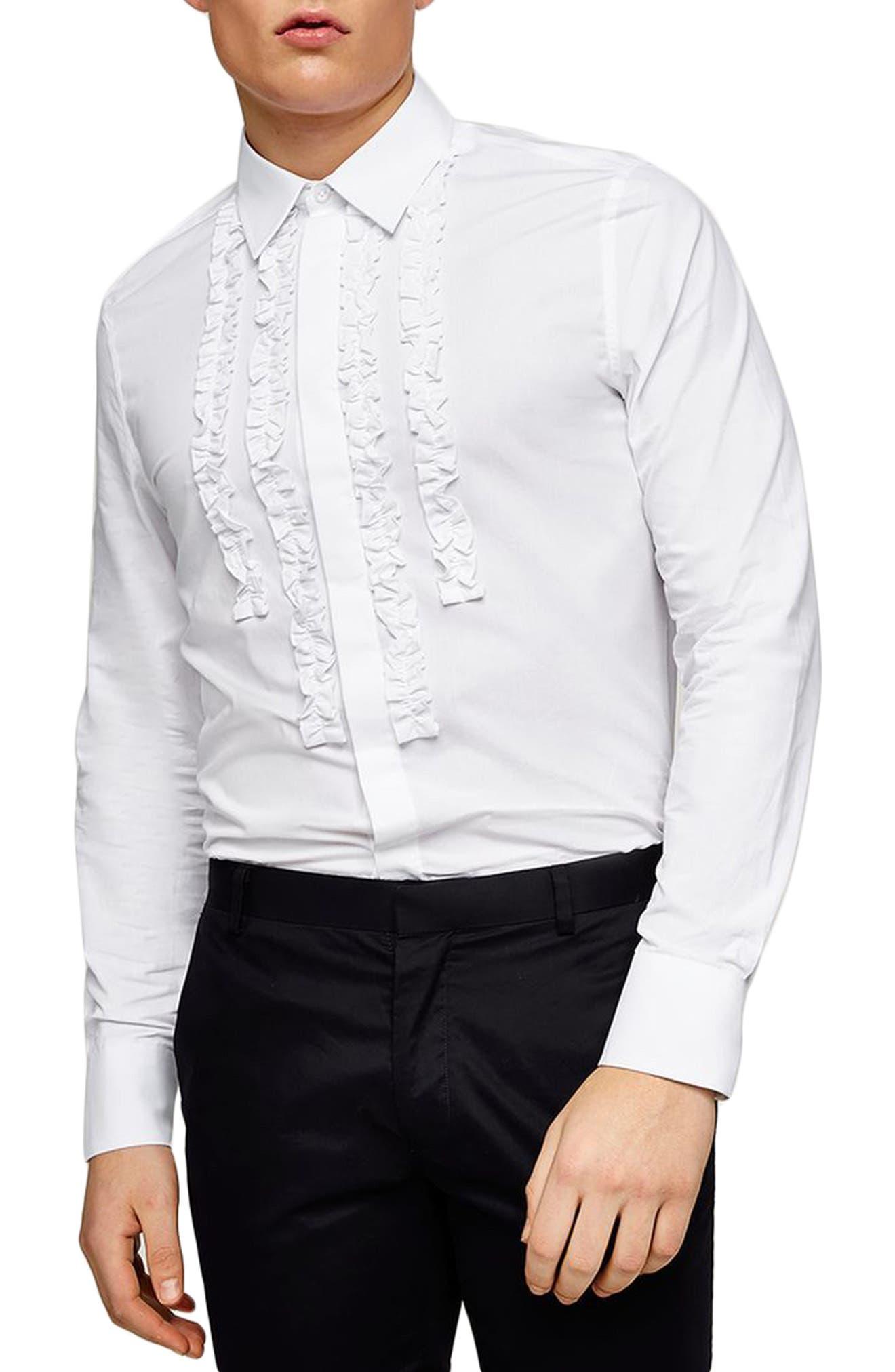 Slim Fit Ruffle Dress Shirt,                             Main thumbnail 1, color,                             White