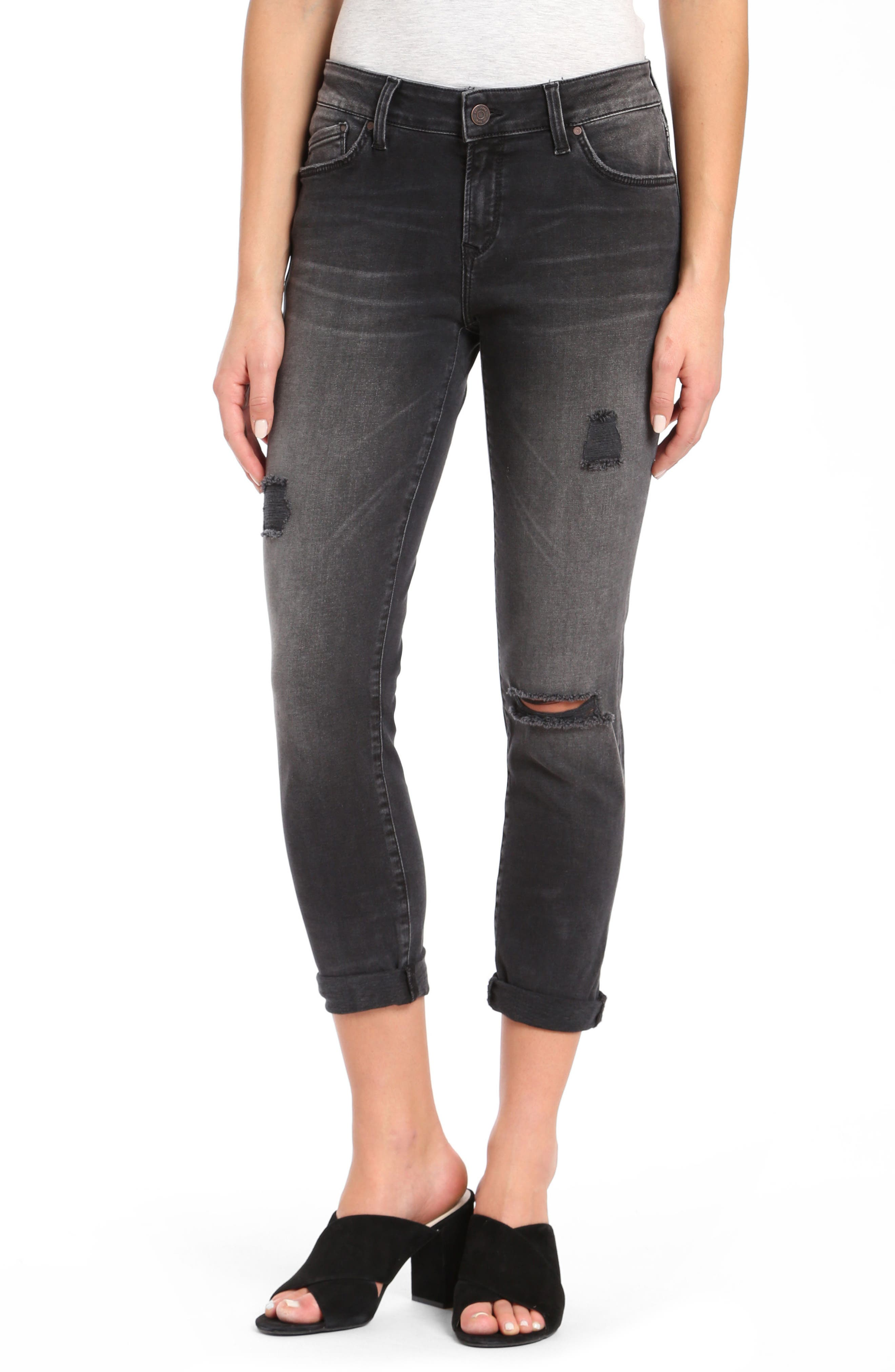 Alissa Super Skinny Ankle Jeans,                         Main,                         color, Smoke Ripped Nolita