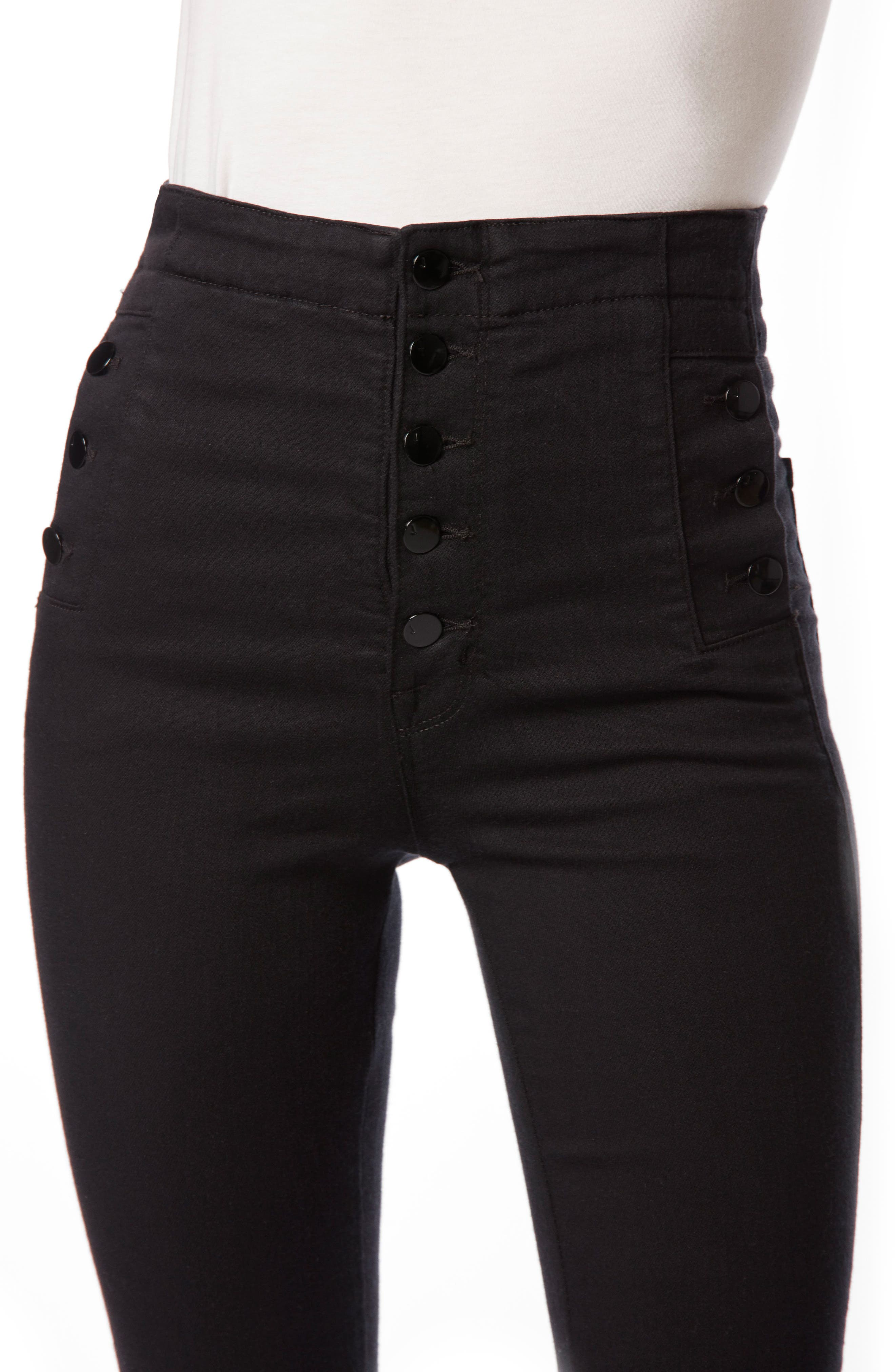 Natasha Sky High High Waist Super Skinny Jeans,                             Alternate thumbnail 6, color,                             Seriously Black