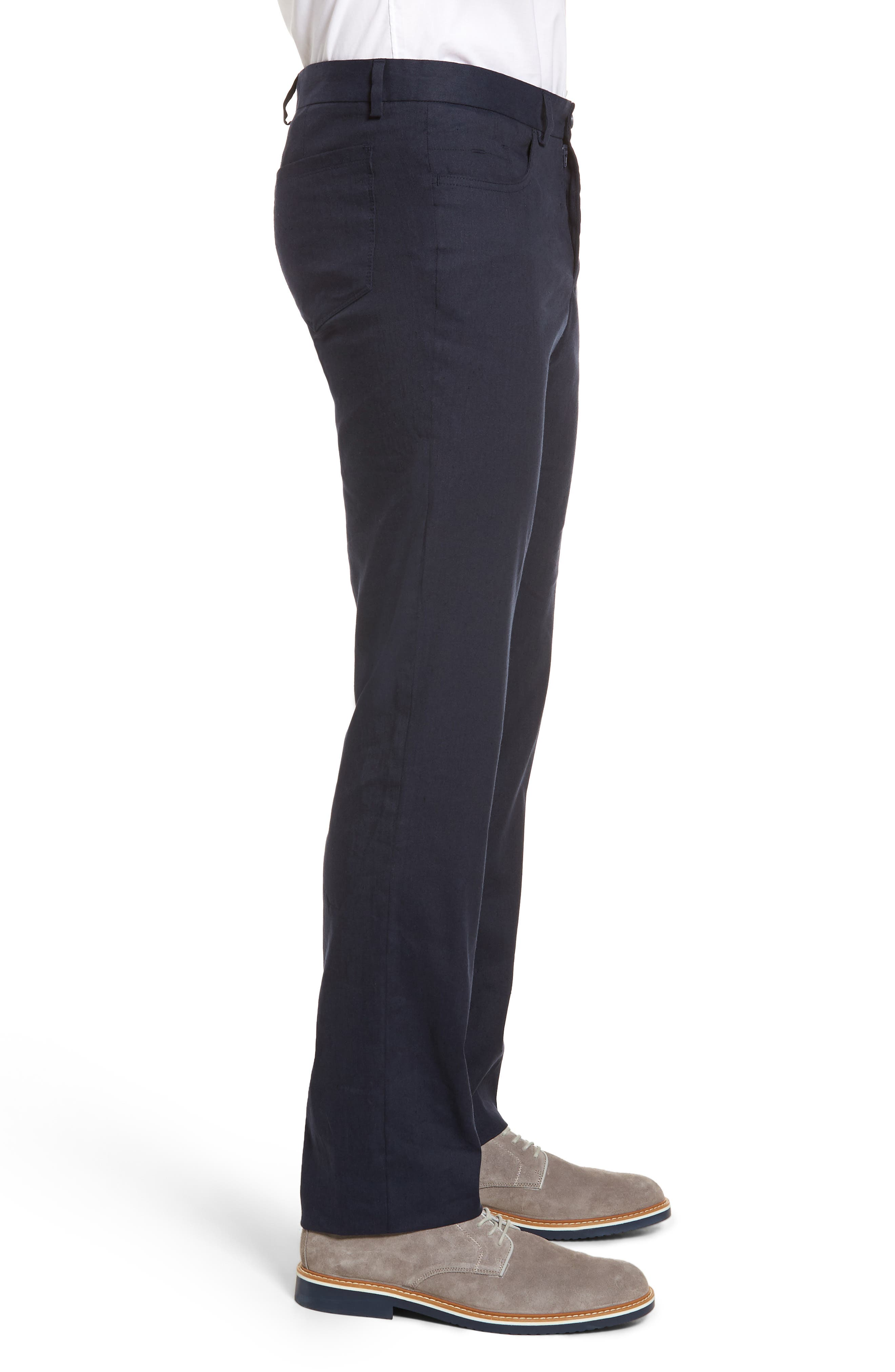 Flat Front Stretch Linen & Cotton Trousers,                             Alternate thumbnail 3, color,                             Navy
