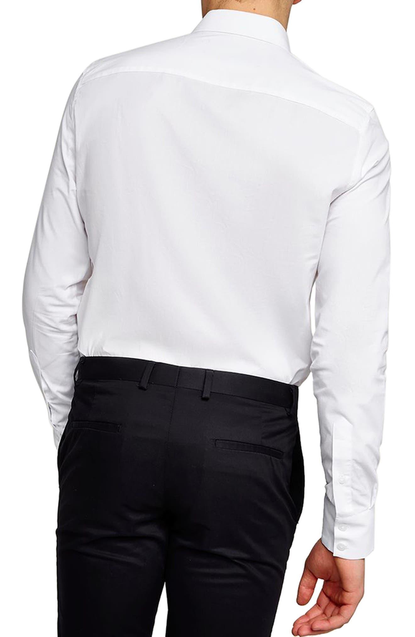 Slim Fit Ruffle Dress Shirt,                             Alternate thumbnail 3, color,                             White