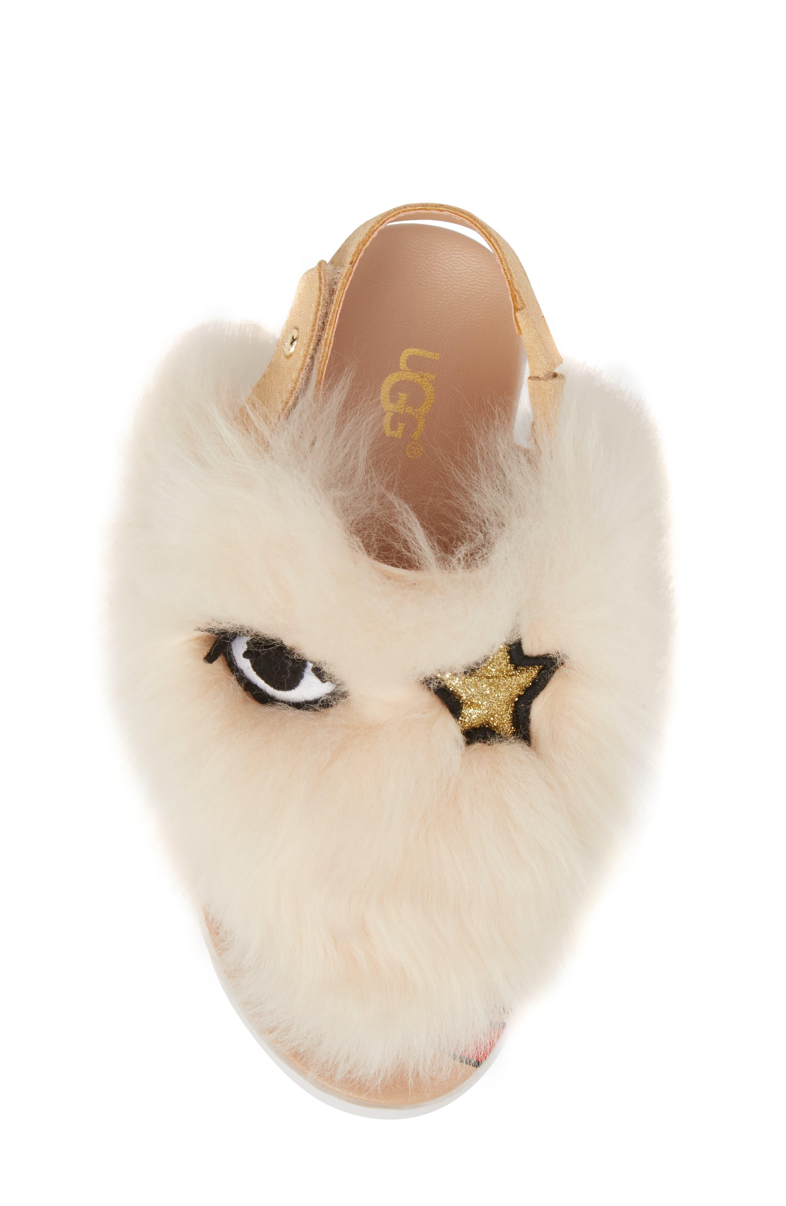 Punki Genuine Shearling Sandal,                             Alternate thumbnail 5, color,                             Natural/ Soft Ochre