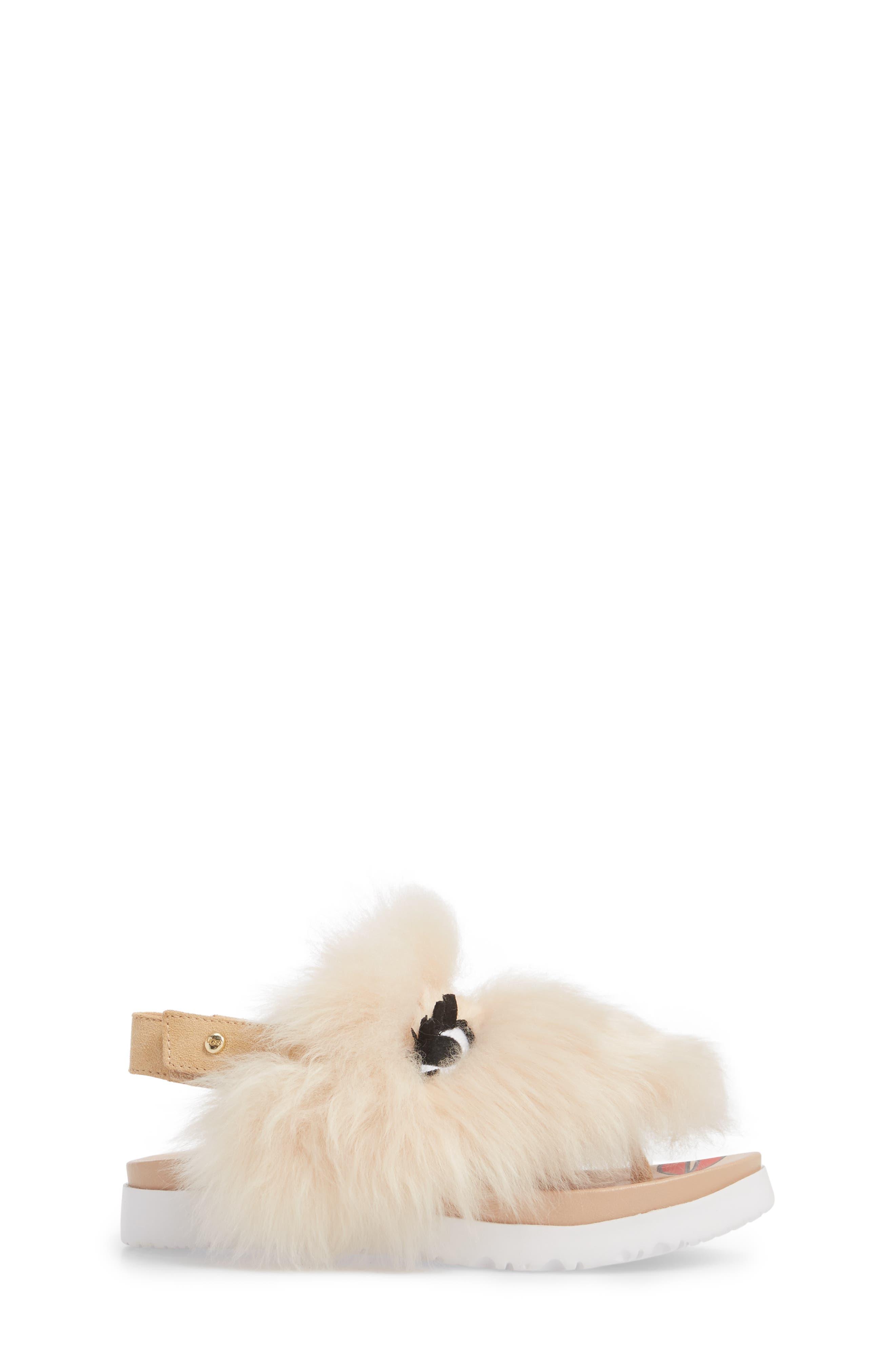 Punki Genuine Shearling Sandal,                             Alternate thumbnail 3, color,                             Natural/ Soft Ochre