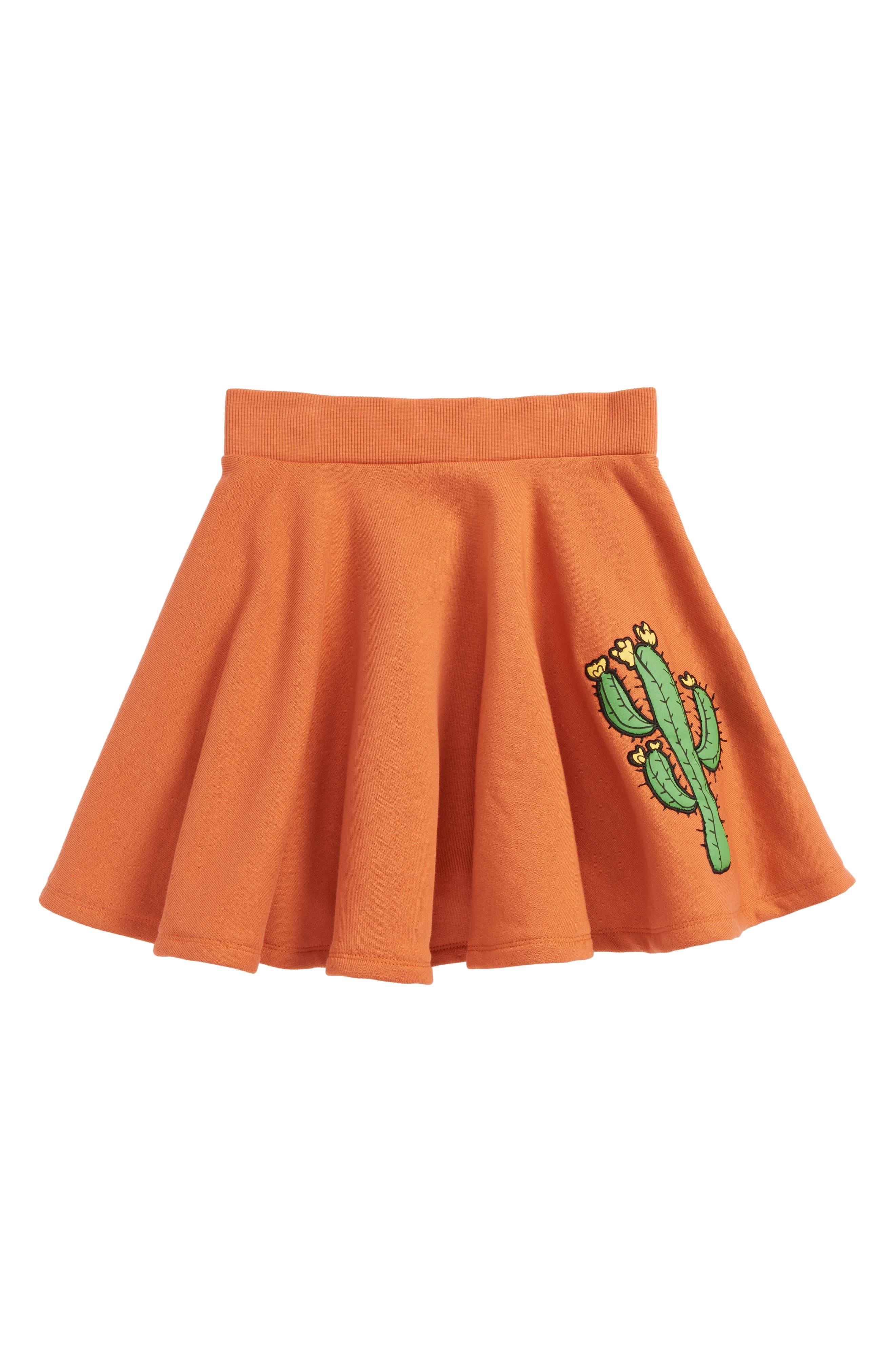 Mini Rodini Appliqué Cactus Organic Cotton Circle Skirt (Toddler Girls & Little Girls)