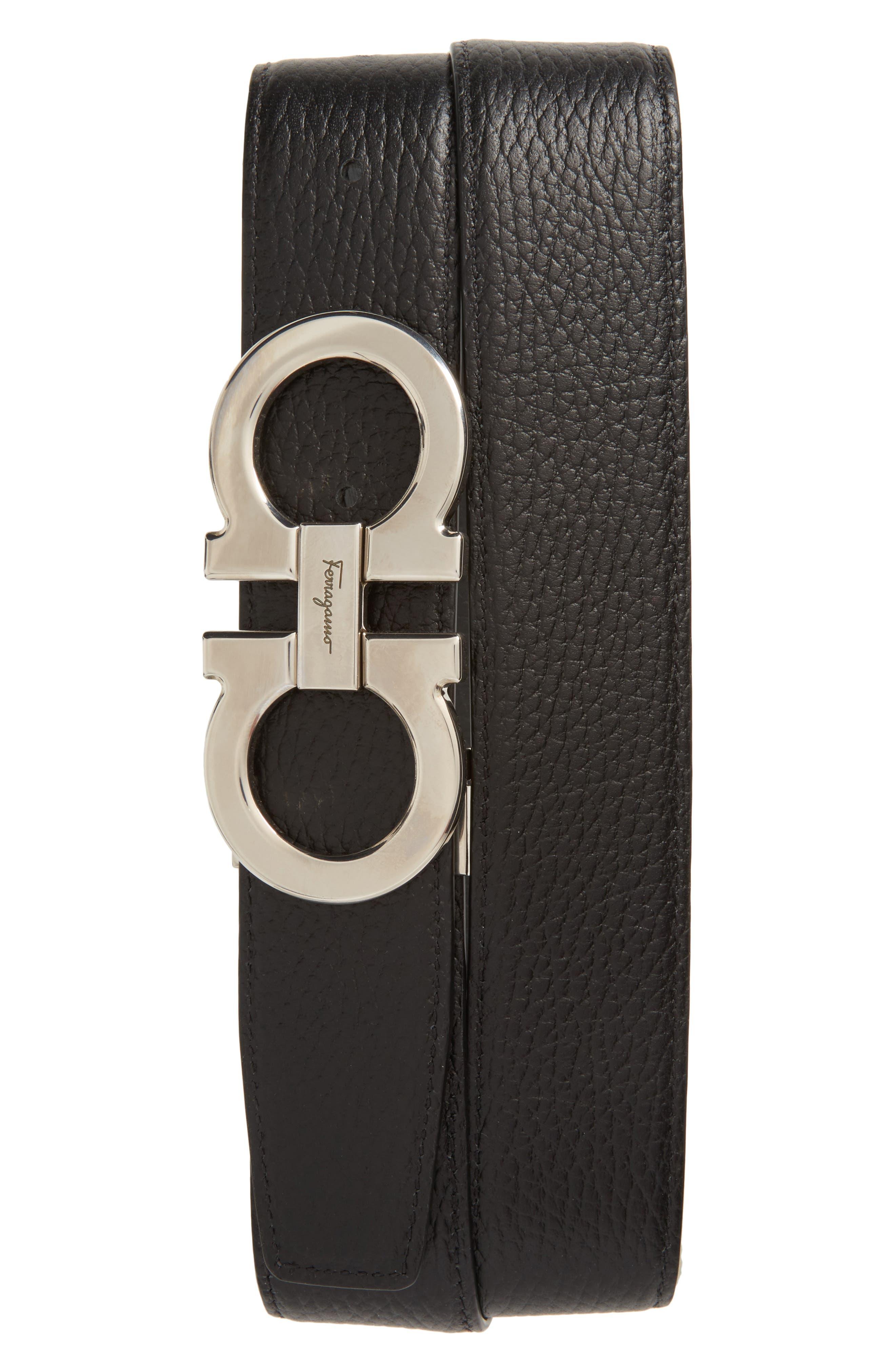 Faceted Double Gancio Reversible Leather Belt,                             Alternate thumbnail 2, color,                             Grey/ Black