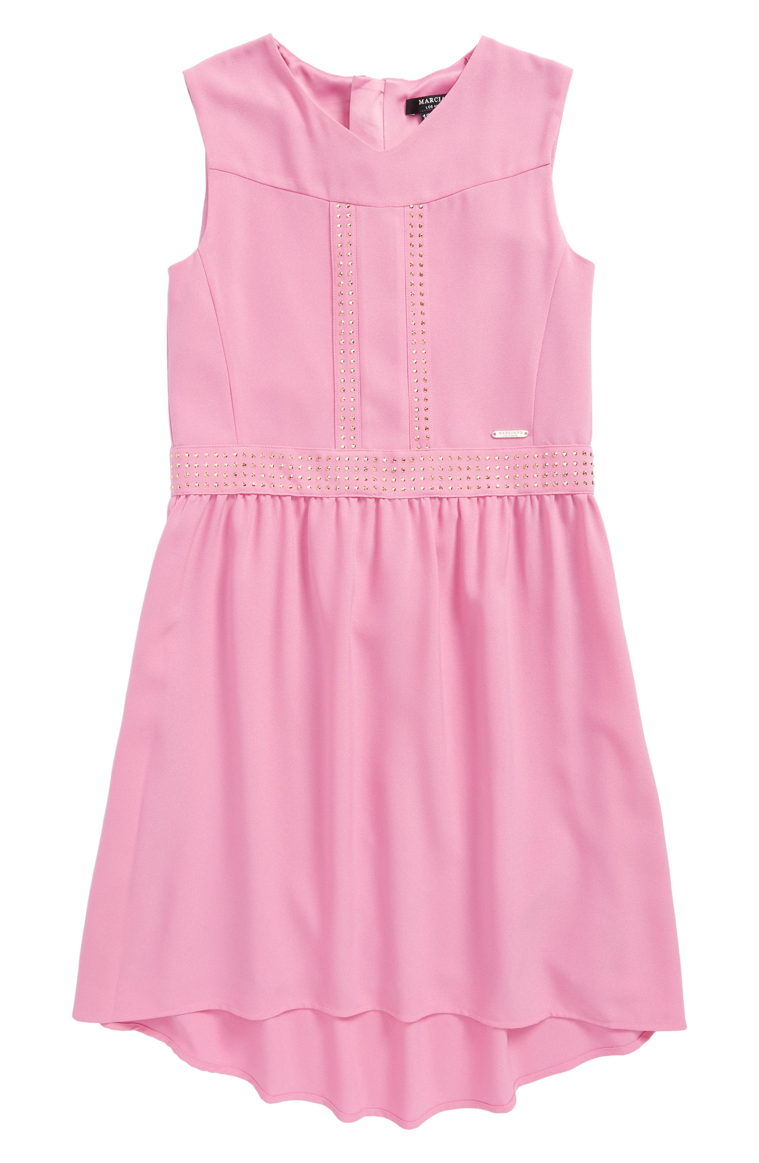 Embellished Crepe High/Low Dress,                             Main thumbnail 1, color,                             Candy Orchid