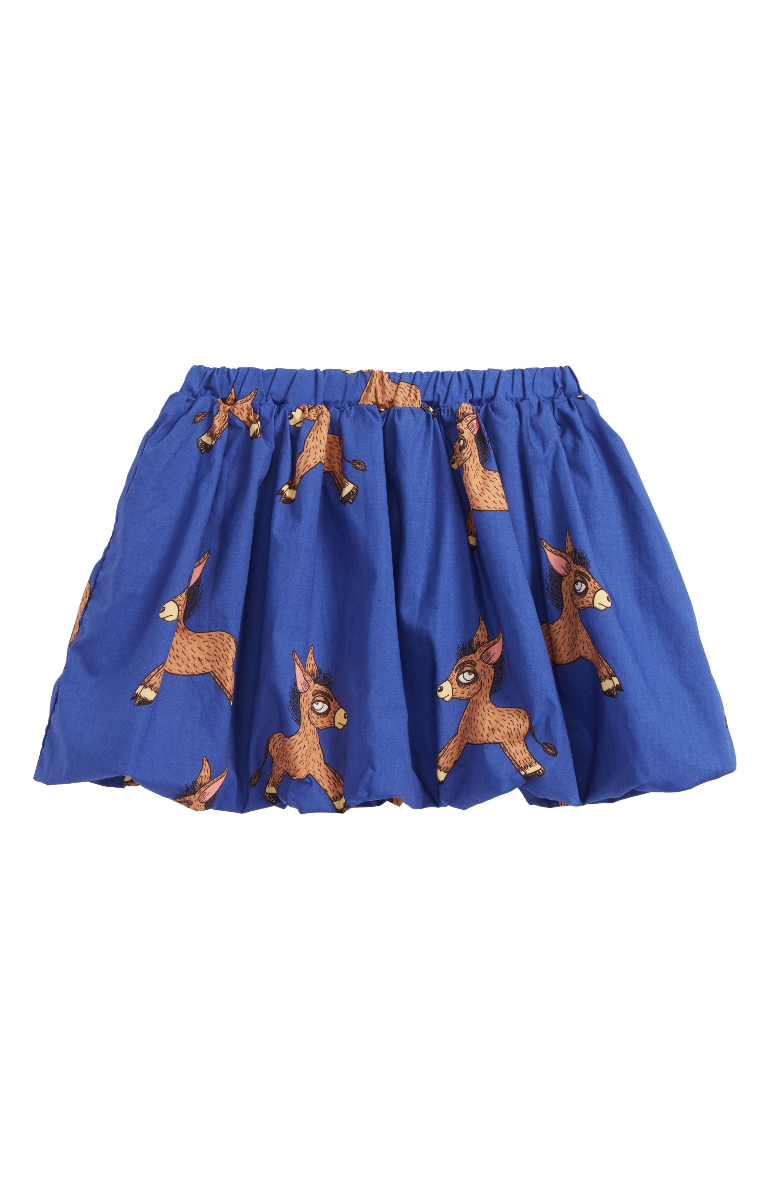 Donkey Print Woven Organic Cotton Balloon Skirt,                         Main,                         color, Blue