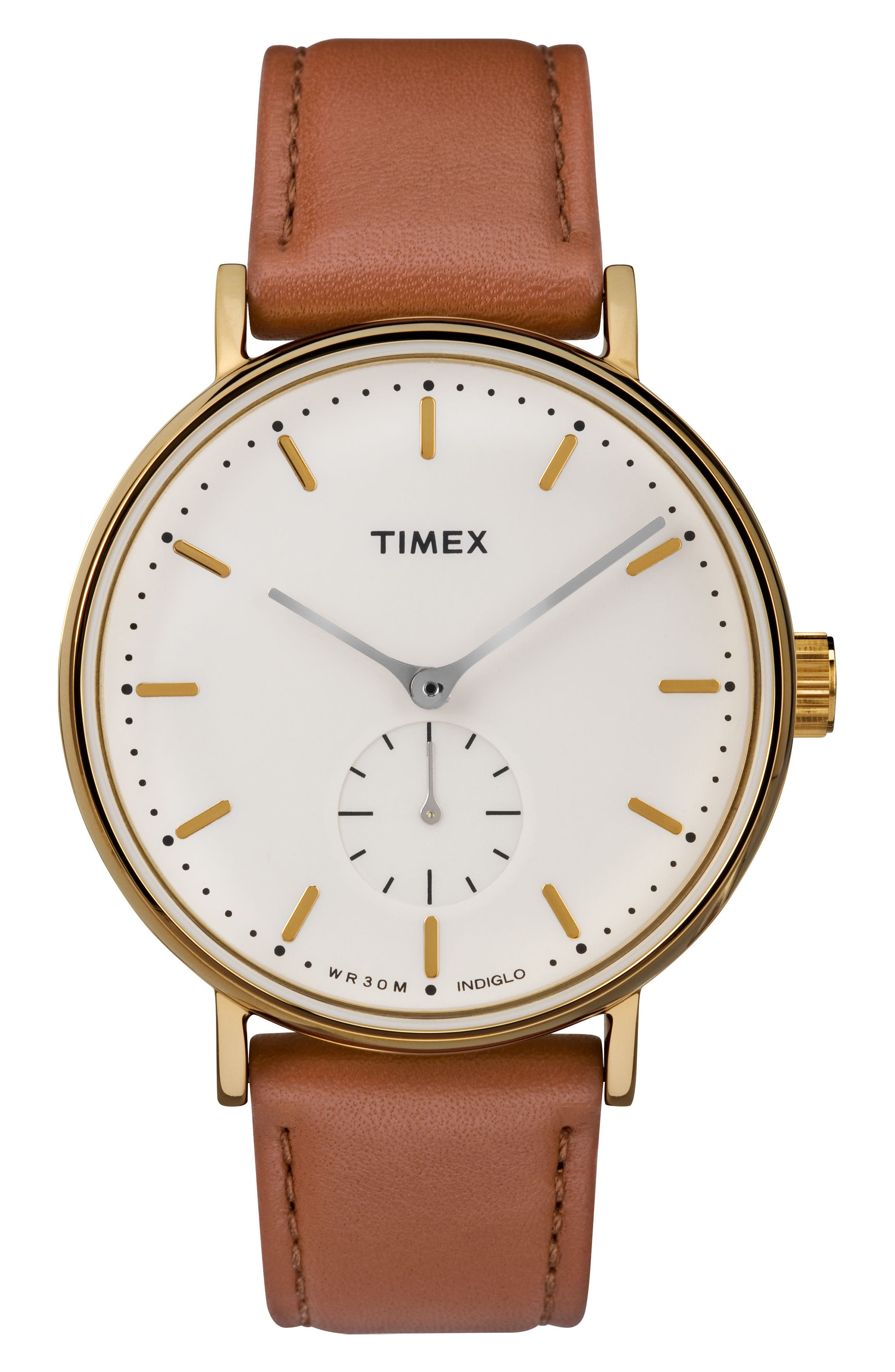 Fairfield Leather Strap Watch, 41mm,                         Main,                         color, Tan/ Cream/ Gold