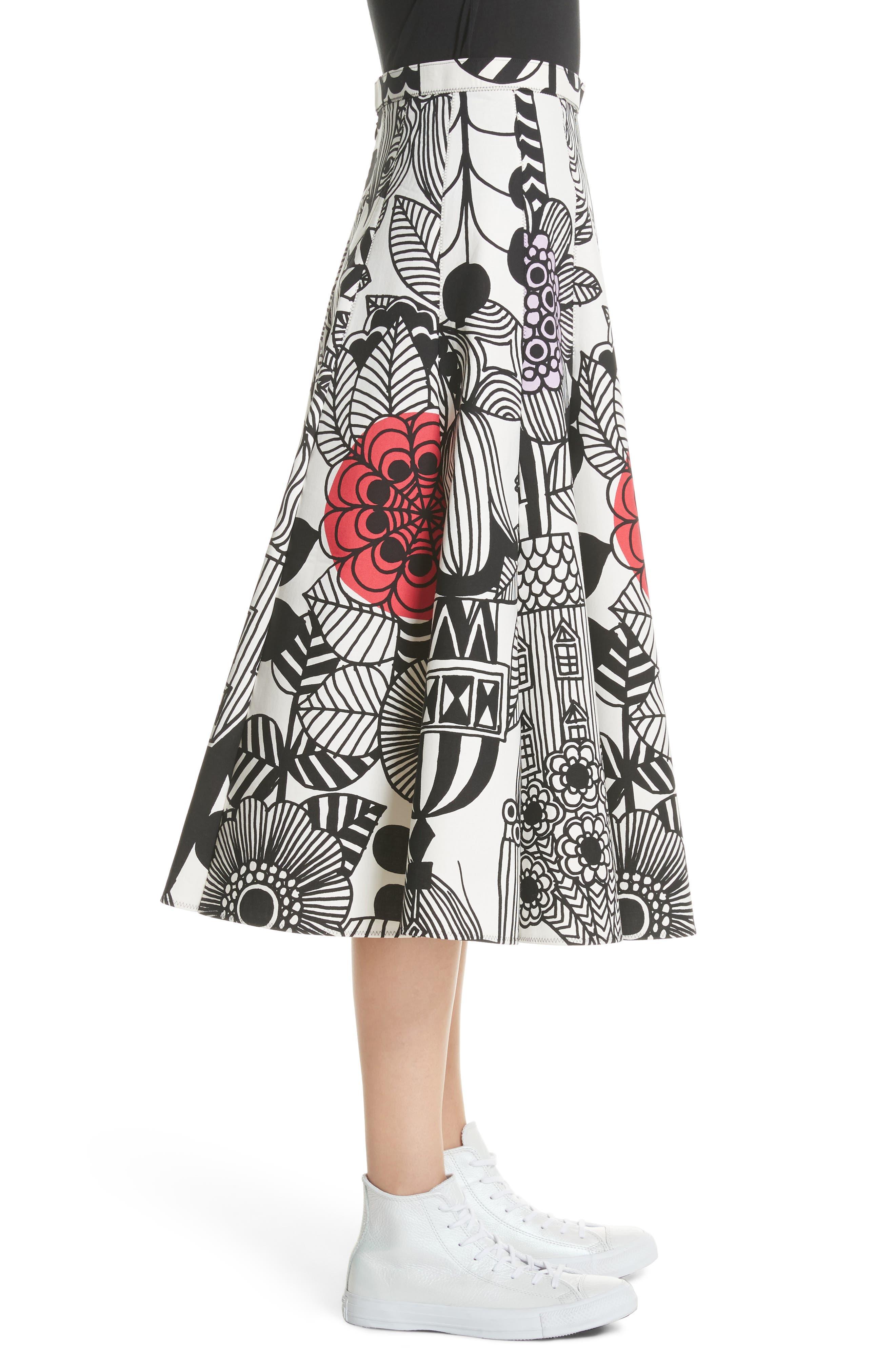 x Marimekko Vegetable Print Cotton Skirt,                             Alternate thumbnail 3, color,                             Wht/ Blk/ Ylw