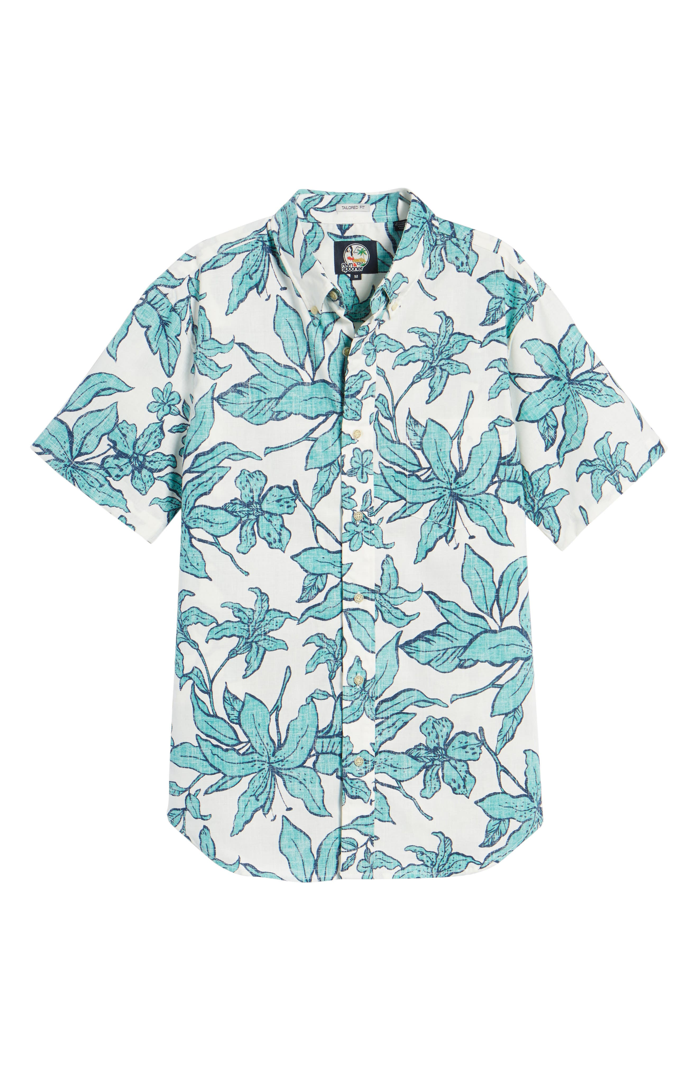 Luhiehu Tailored Fit Print Camp Shirt,                             Alternate thumbnail 6, color,                             Natural