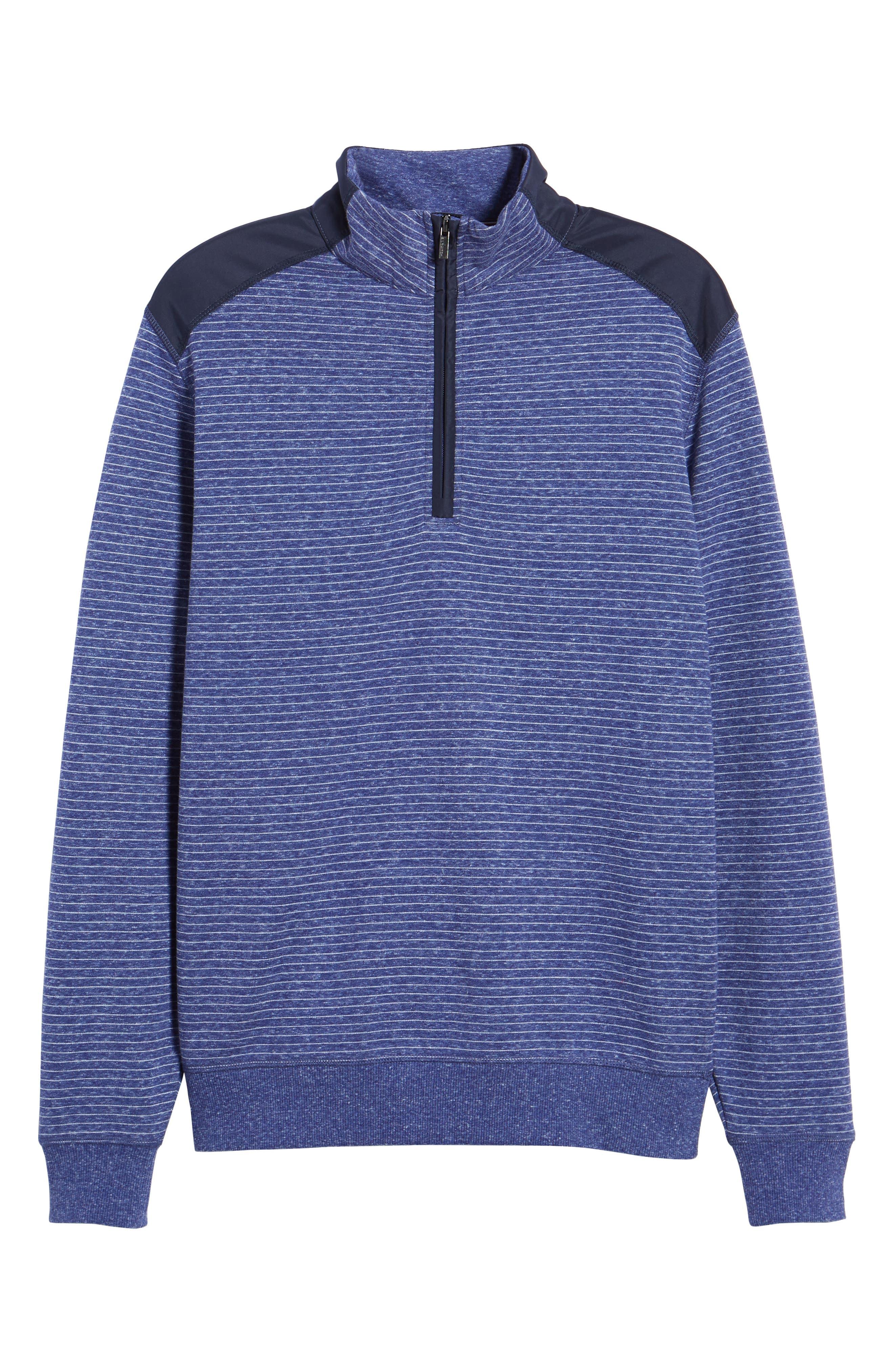 Regular Fit Stripe Quarter Zip Pullover,                             Alternate thumbnail 6, color,                             Night Blue