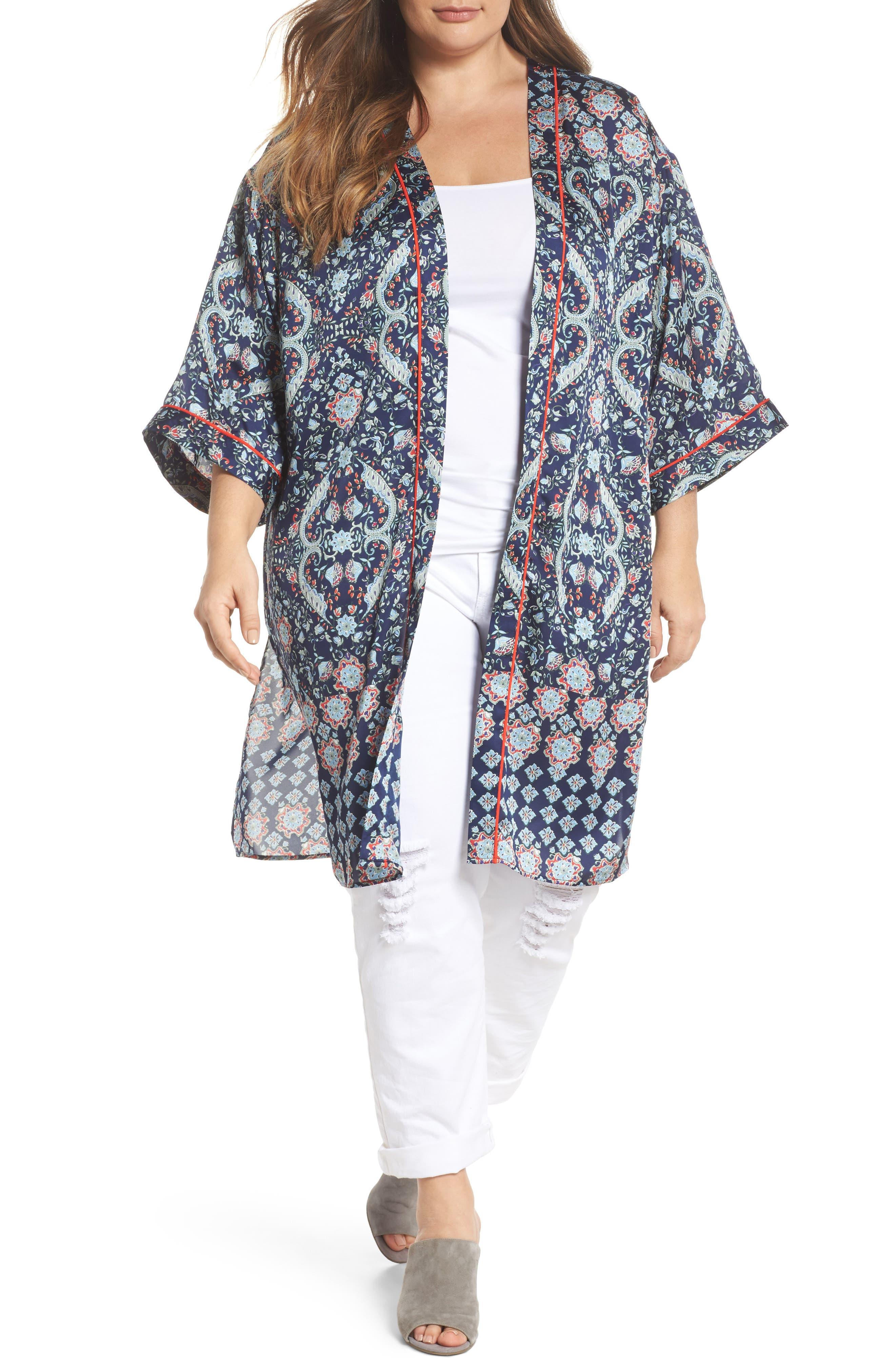 Daniel Rainn Kimono Duster Jacket (Plus Size)