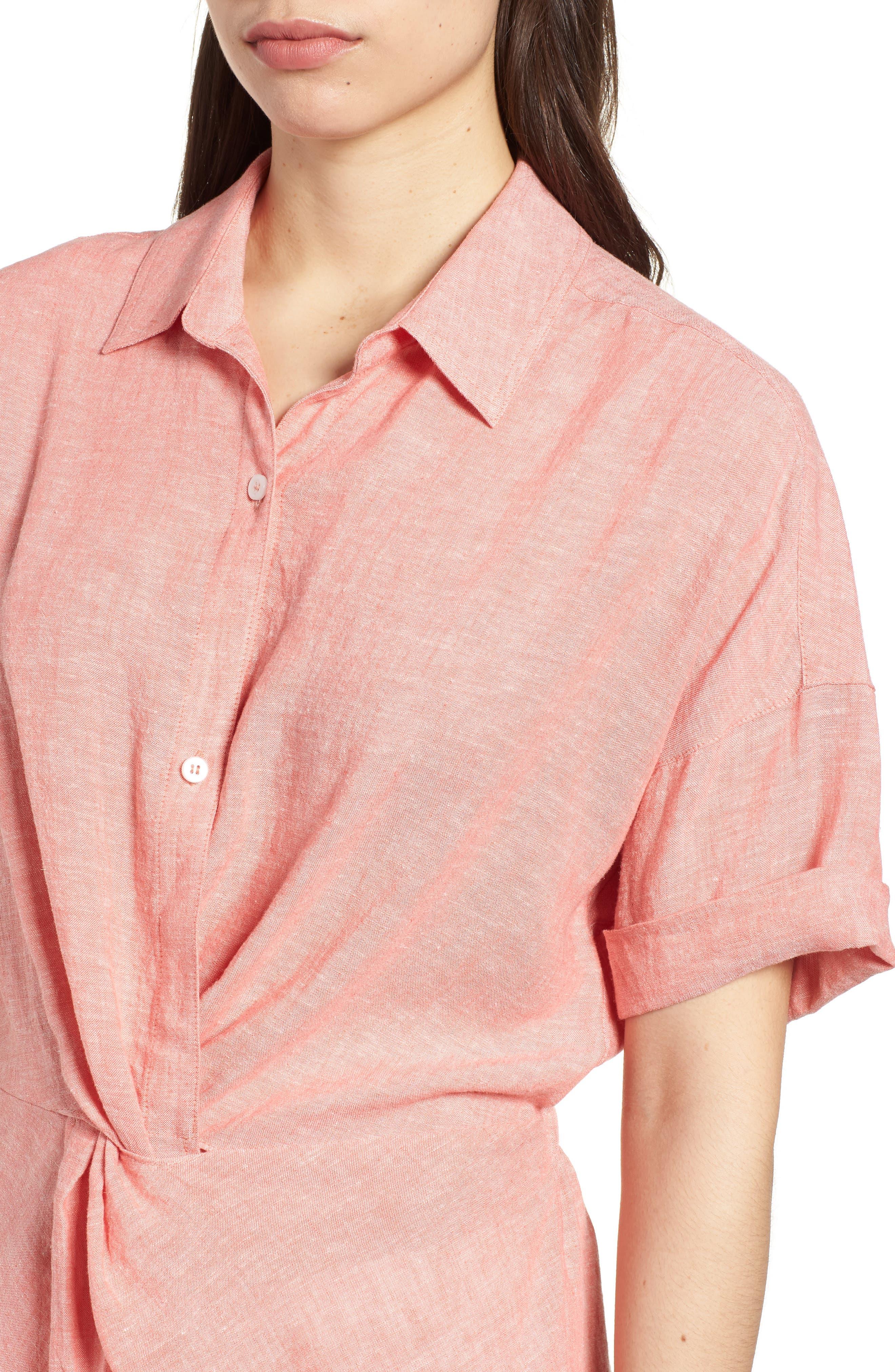 Twist Front Linen Blend Shirt,                             Alternate thumbnail 4, color,                             Coral Rose Crossdye