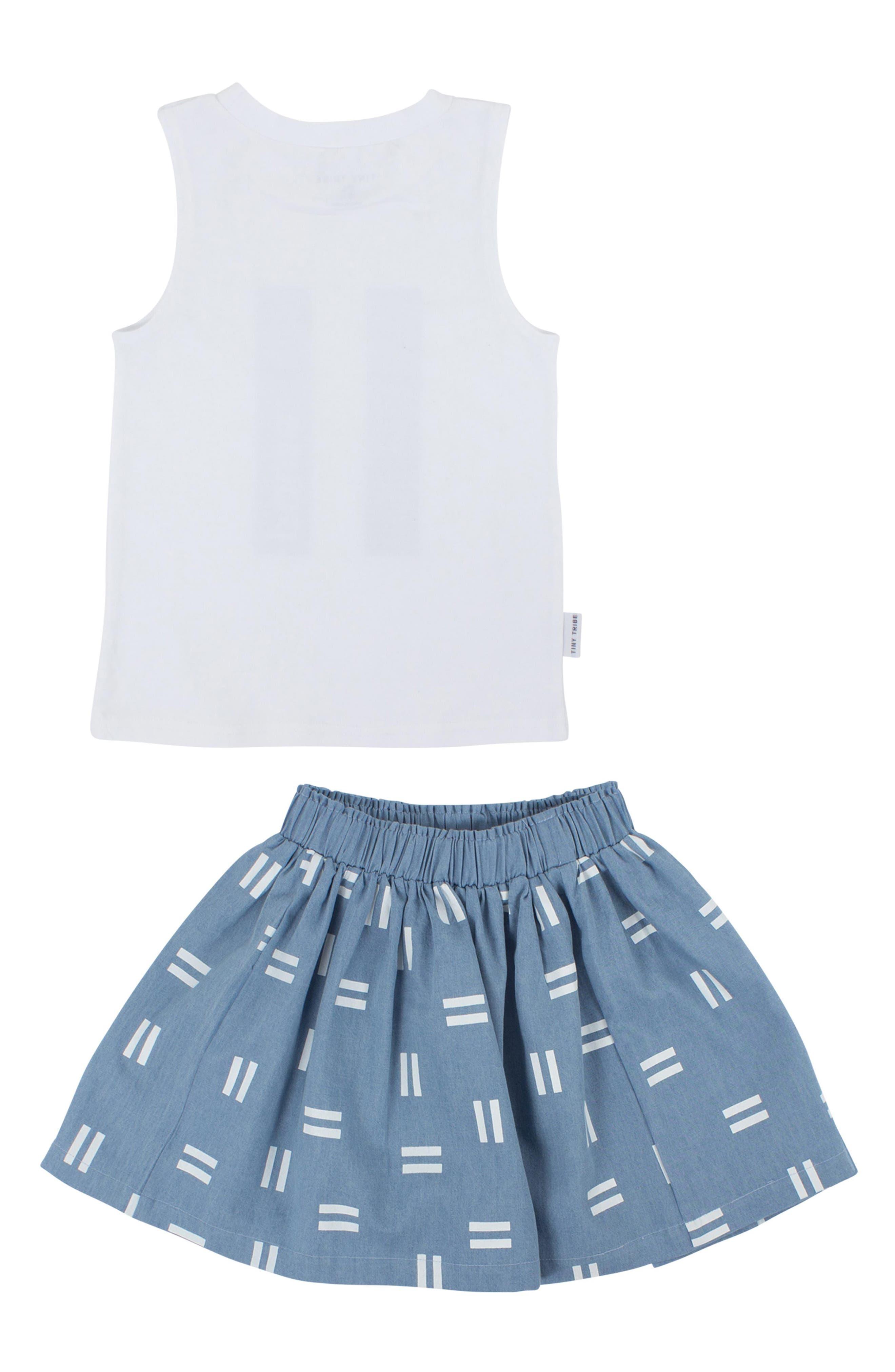 Pause Tank & Chambray Skirt Set,                             Alternate thumbnail 2, color,                             White/ Chambray