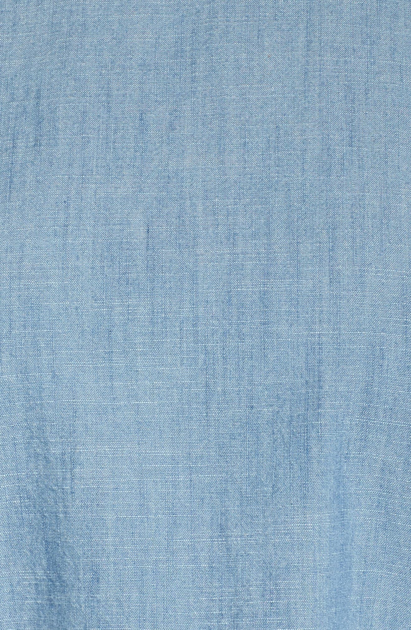 Ruffle Sleeve Chambray Blouse,                             Alternate thumbnail 5, color,                             Ice Lagoon