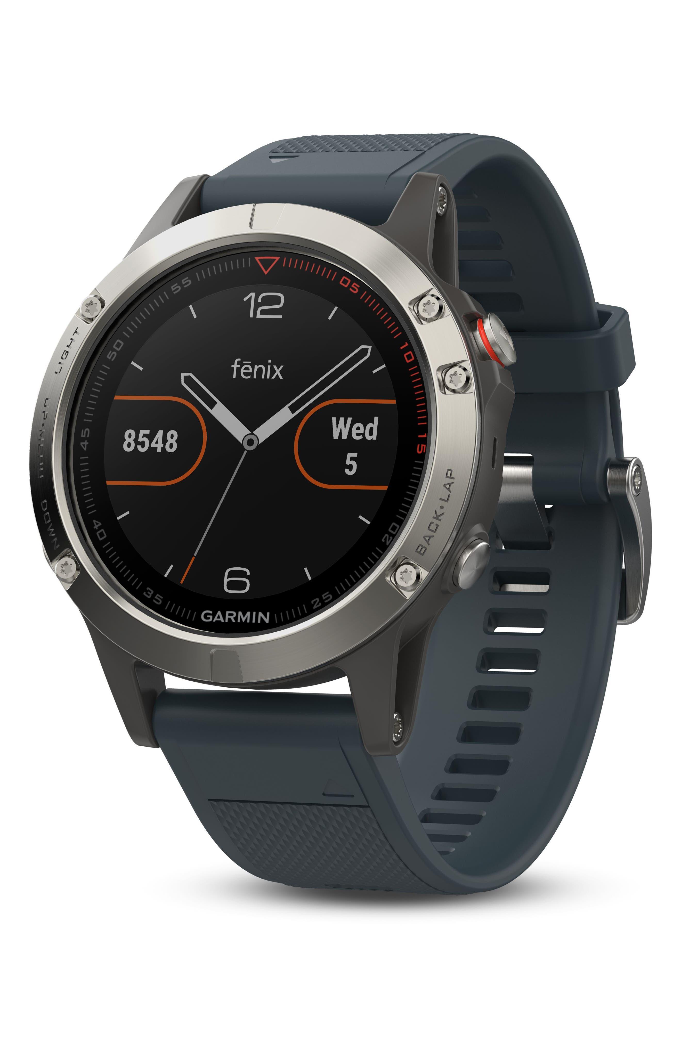 fenix<sup>®</sup> 5 Premium Multisport GPS Watch, 47mm,                         Main,                         color, Granite Blue/ Silver
