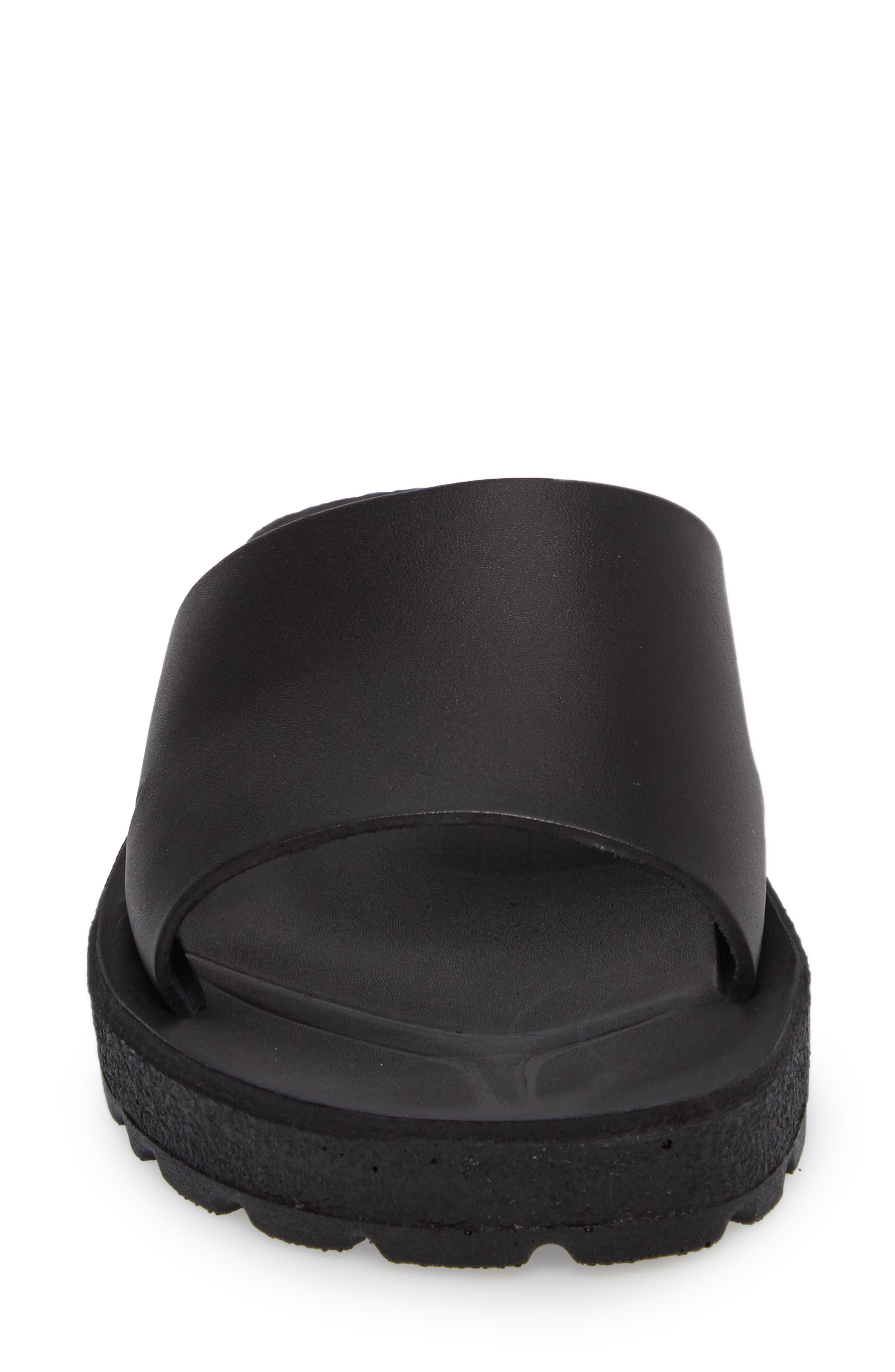 Bashn Molded Footbed Slide Sandal,                             Alternate thumbnail 4, color,                             Black Leather