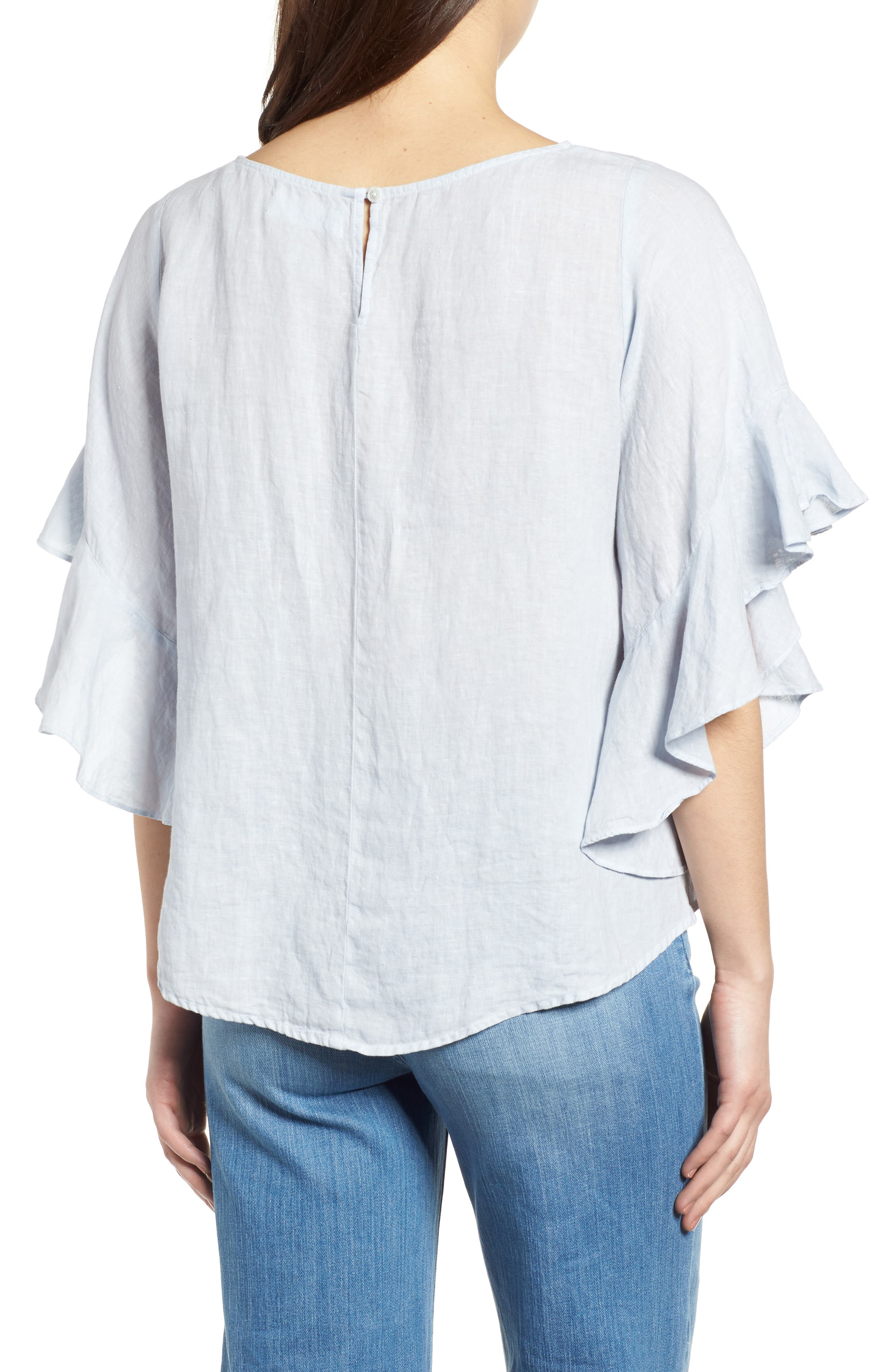 Ruffle Sleeve Linen Top,                             Alternate thumbnail 3, color,                             Cloud