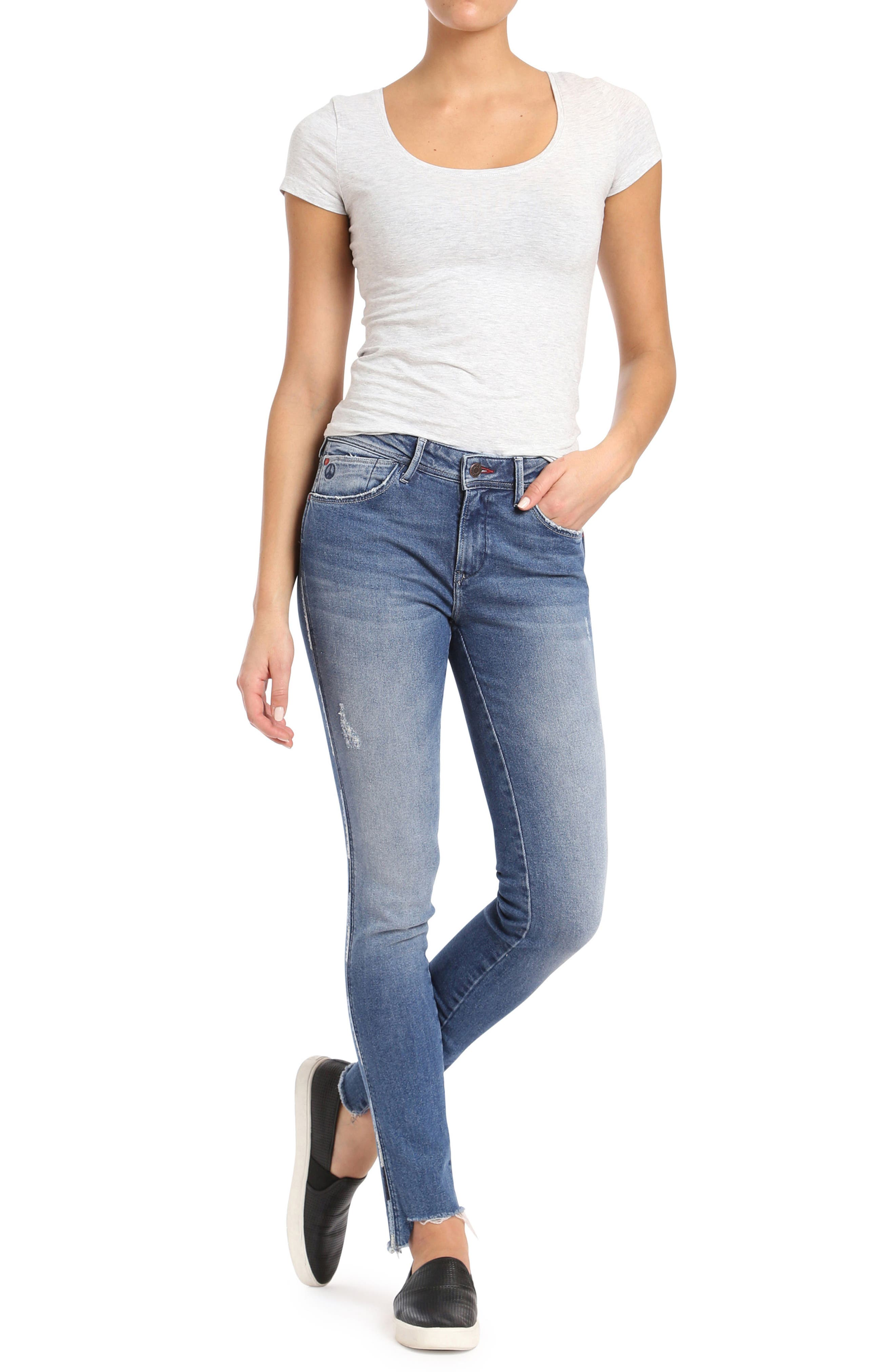 Adriana Contrast Side Stripe Skinny Jeans,                             Alternate thumbnail 4, color,                             Mid Cheeky