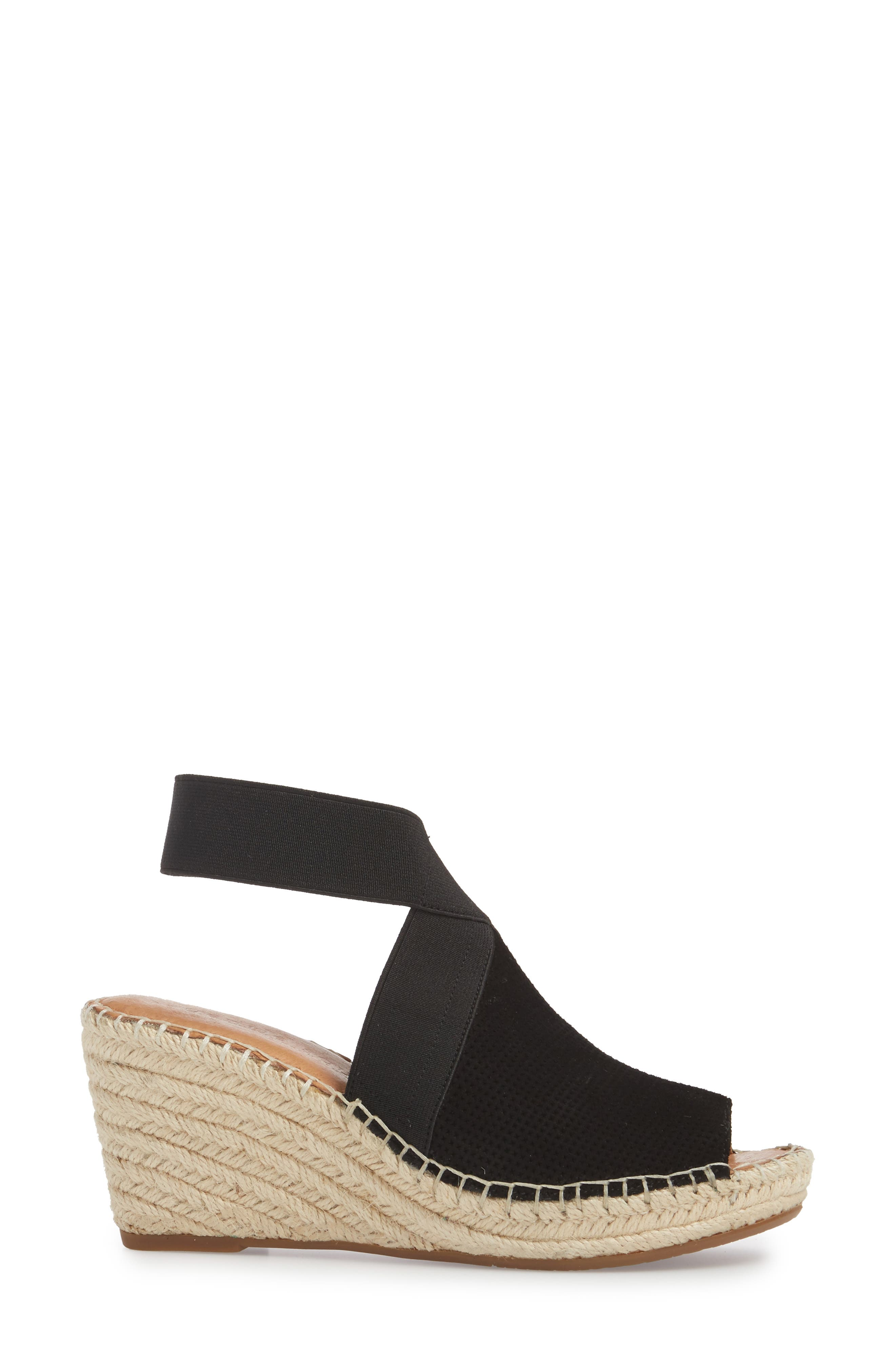 by Kenneth Cole Colleen Espadrille Wedge,                             Alternate thumbnail 3, color,                             Black Suede