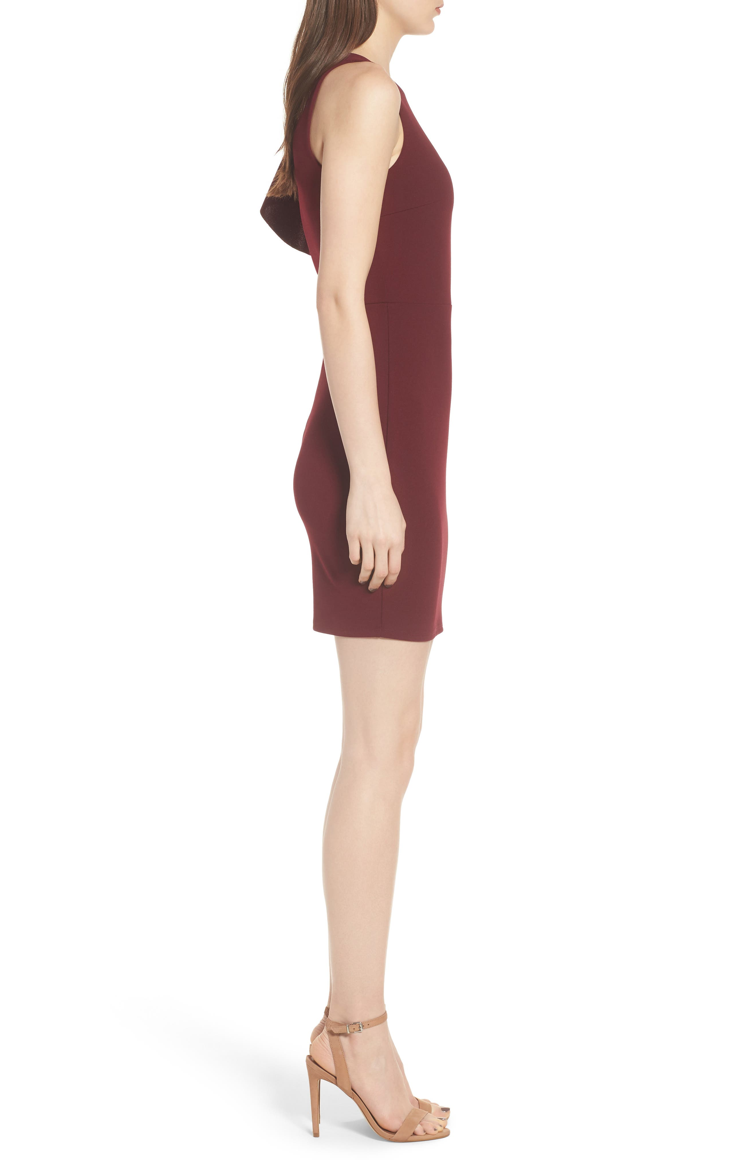 Ruffle Sleeve Body-Con Dress,                             Alternate thumbnail 3, color,                             Wine