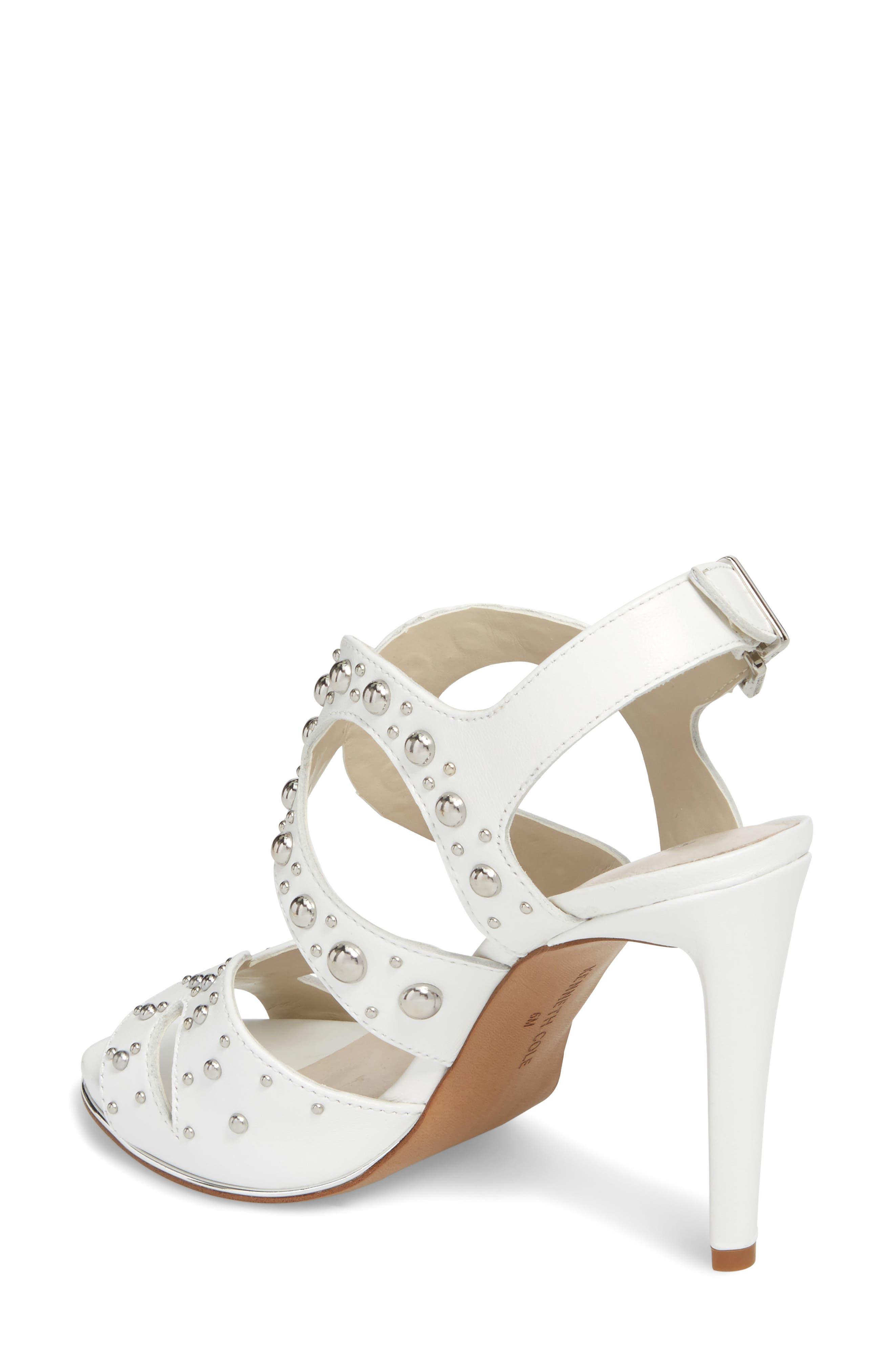 Baldwin Stud Sandal,                             Alternate thumbnail 2, color,                             White Leather