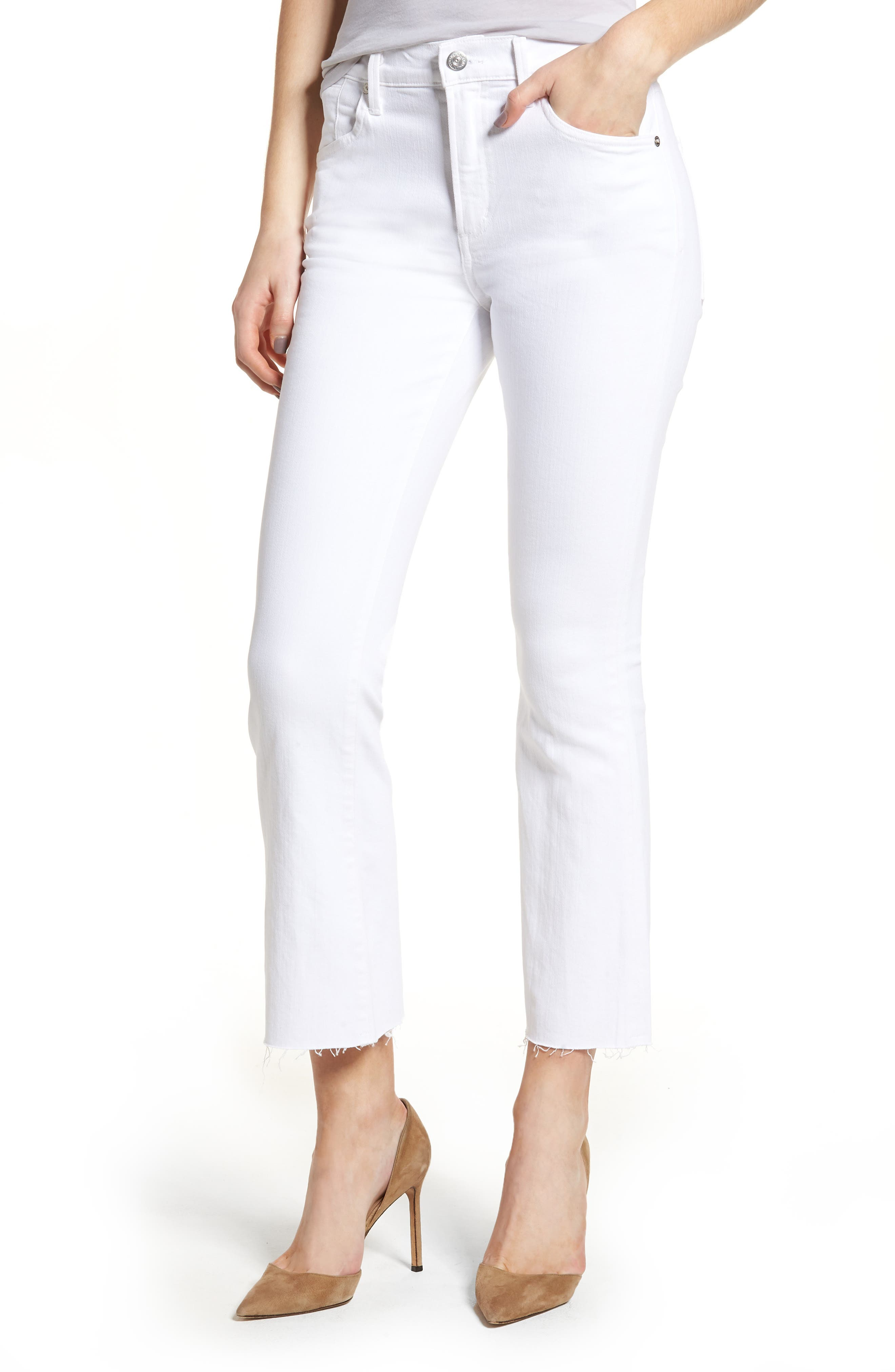 Fleetwood Crop Straight Leg Jeans,                             Main thumbnail 1, color,                             Optic White