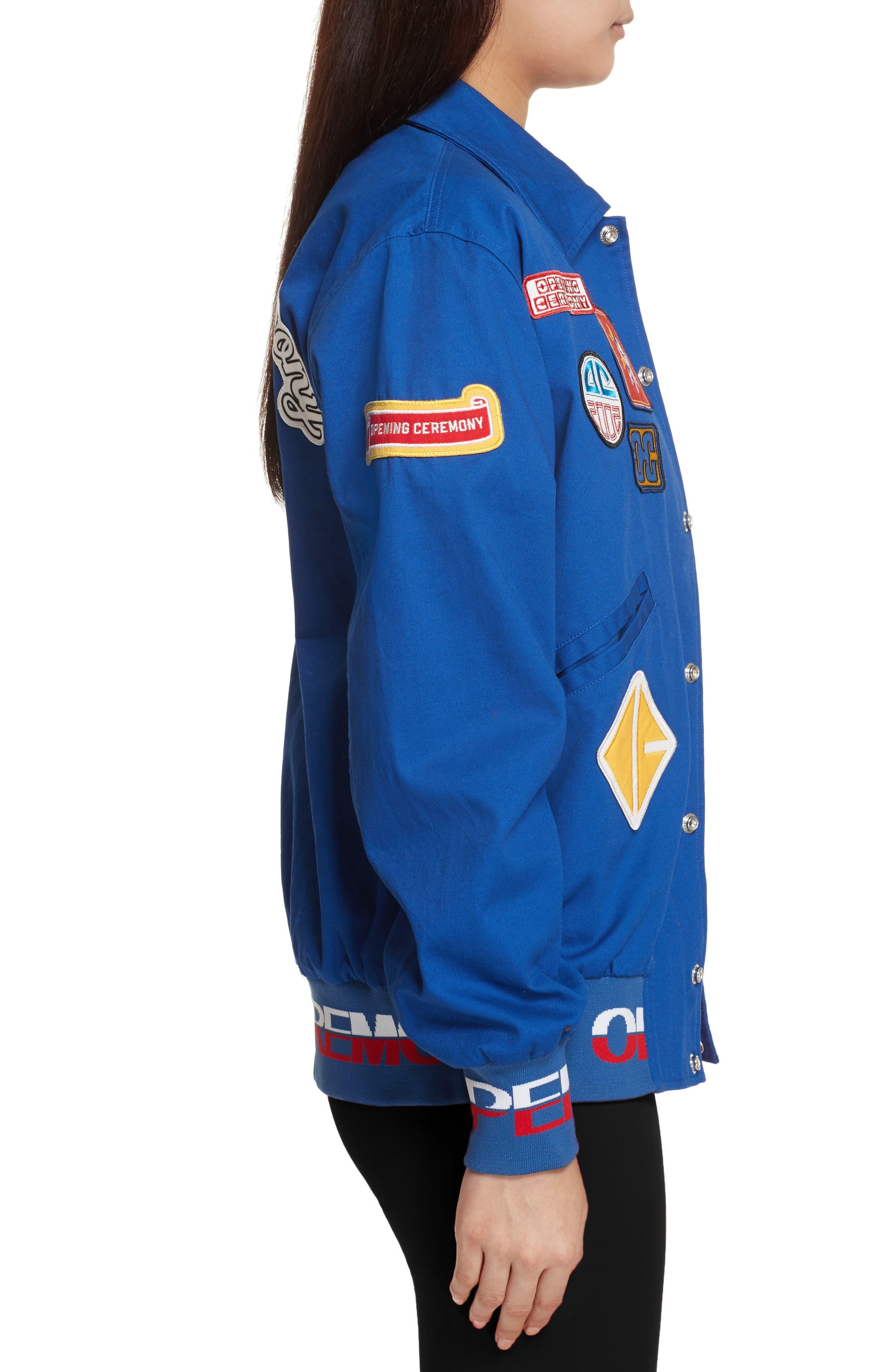 Patch Varsity Jacket,                             Alternate thumbnail 4, color,                             Railroad Blue