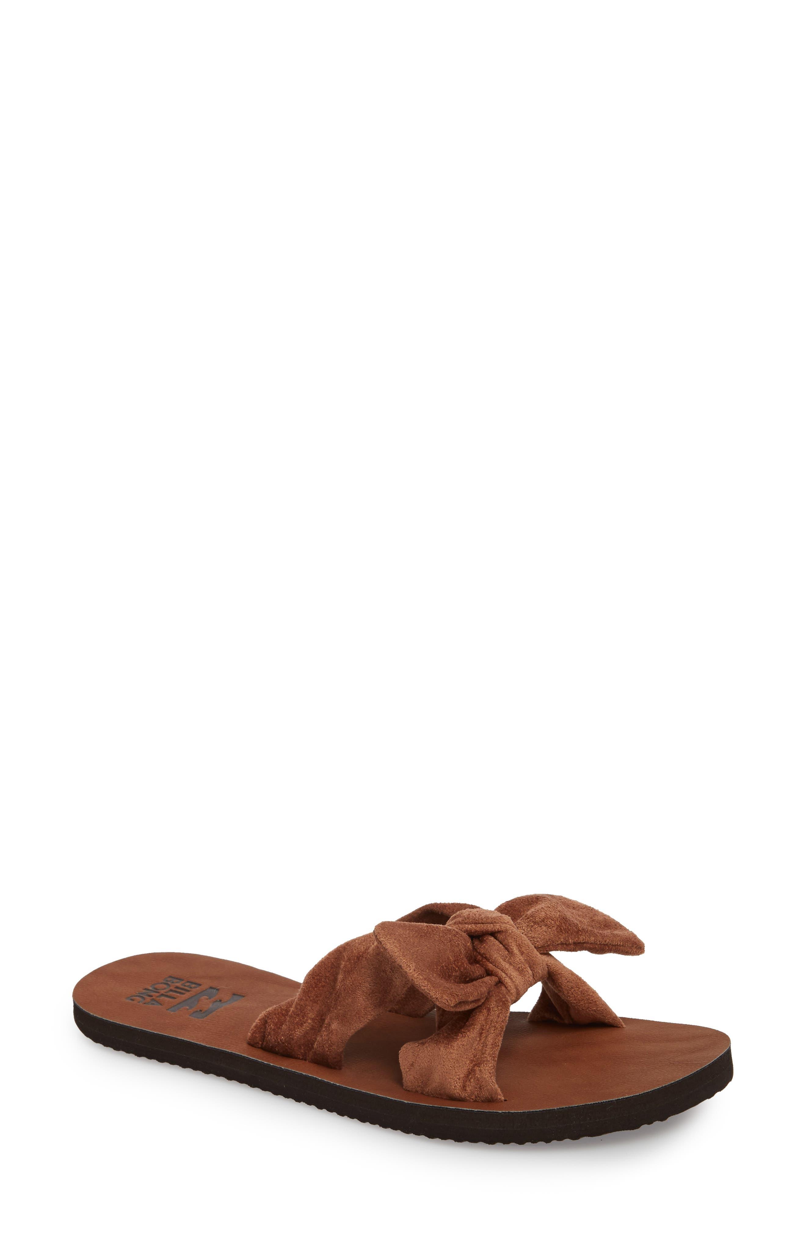 Tied-Up Slide Sandal,                             Main thumbnail 1, color,                             Desert Brown