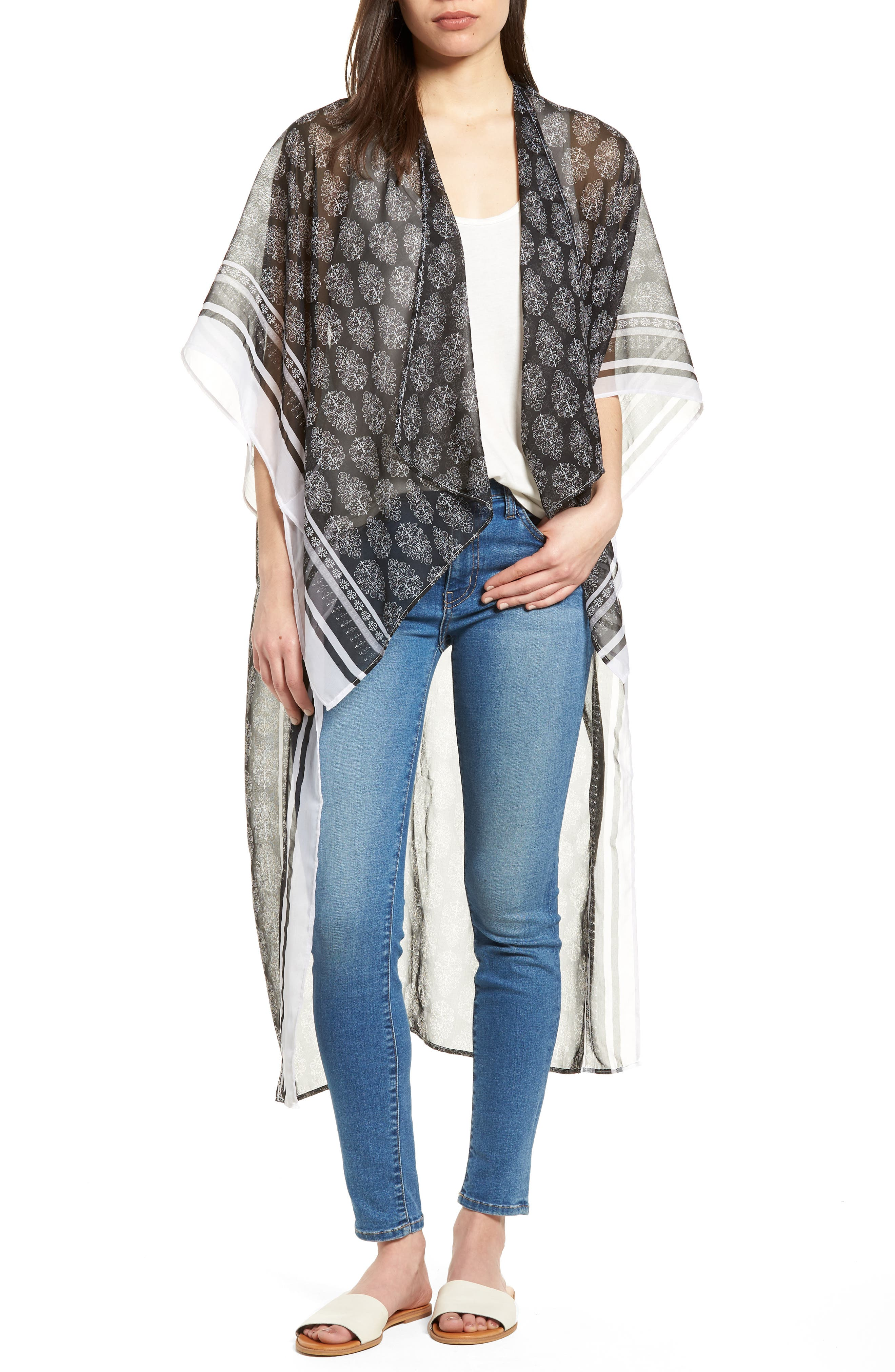 Alternate Image 1 Selected - BCBG Woodblock Paisley High/Low Poncho