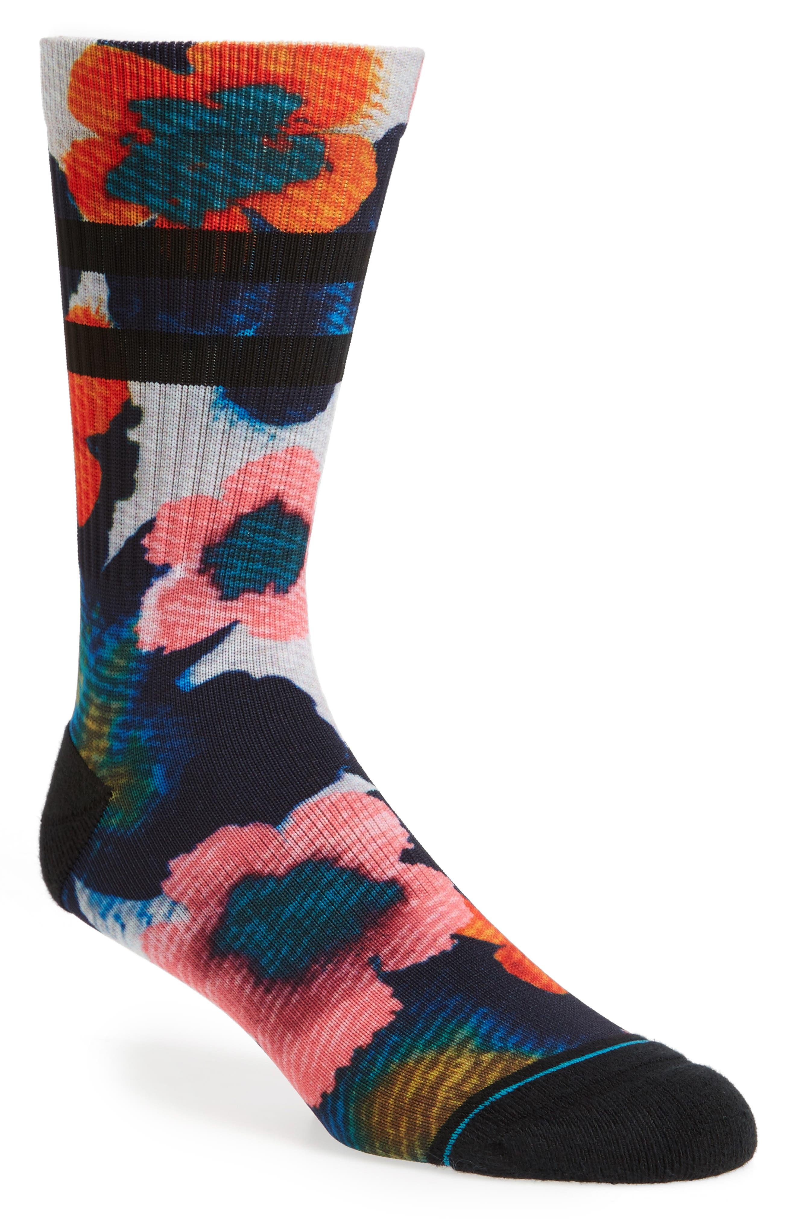 Frangipani Floral Socks,                             Main thumbnail 1, color,                             Black/ Orange Multi