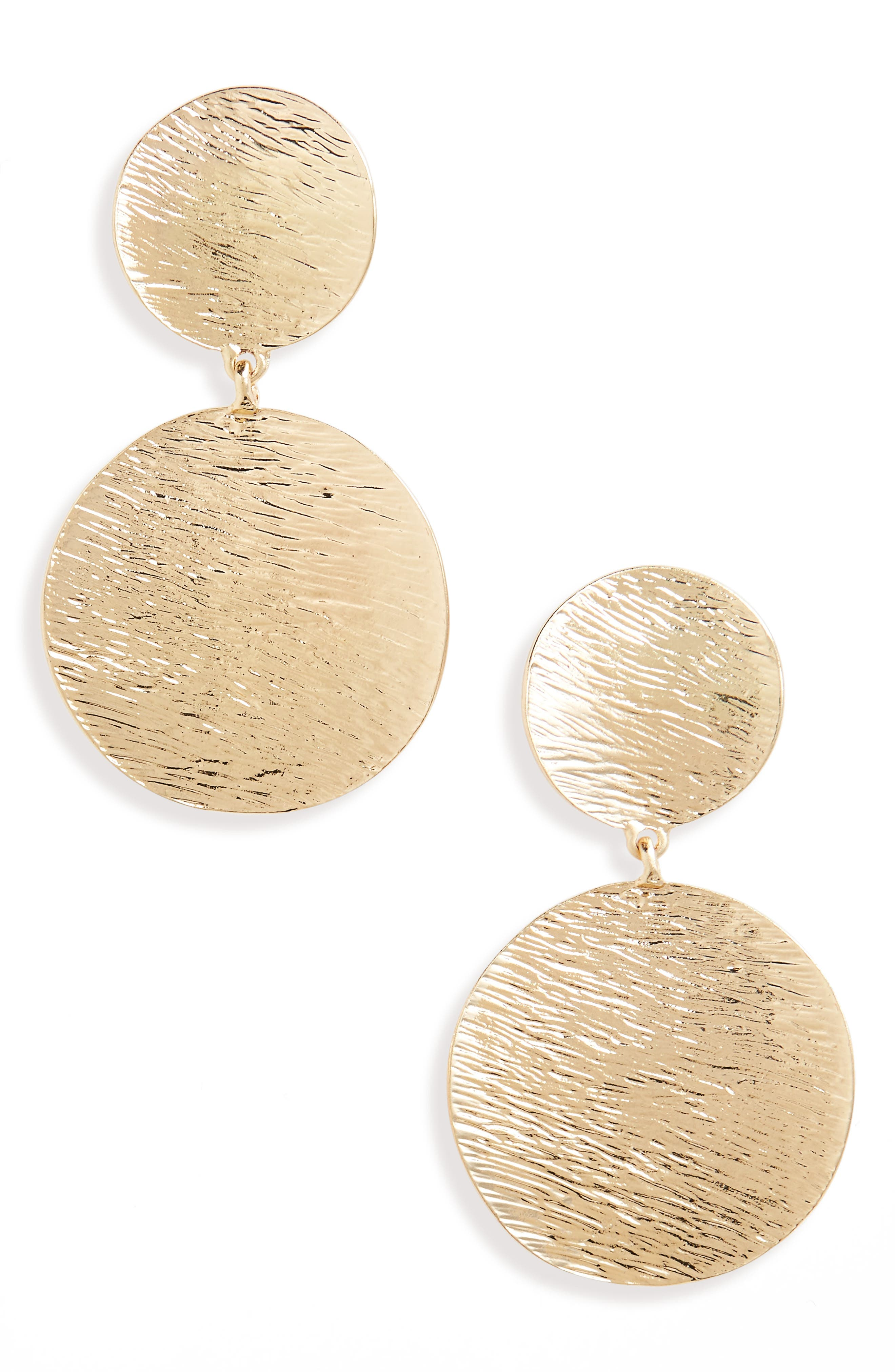 Textured Metal Statement Earrings,                         Main,                         color, Gold