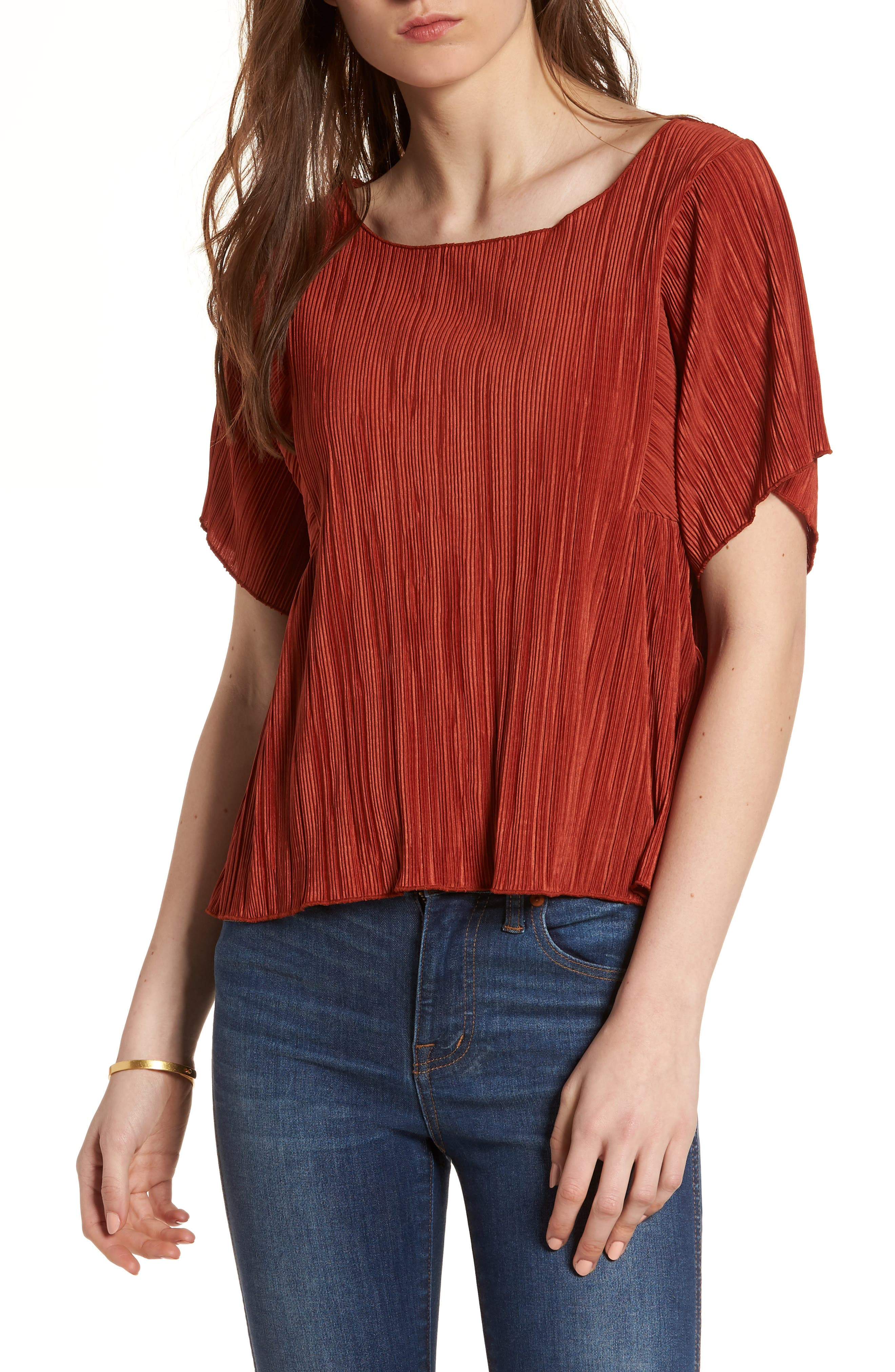 Micropleat Top,                             Main thumbnail 1, color,                             Rusty Torch