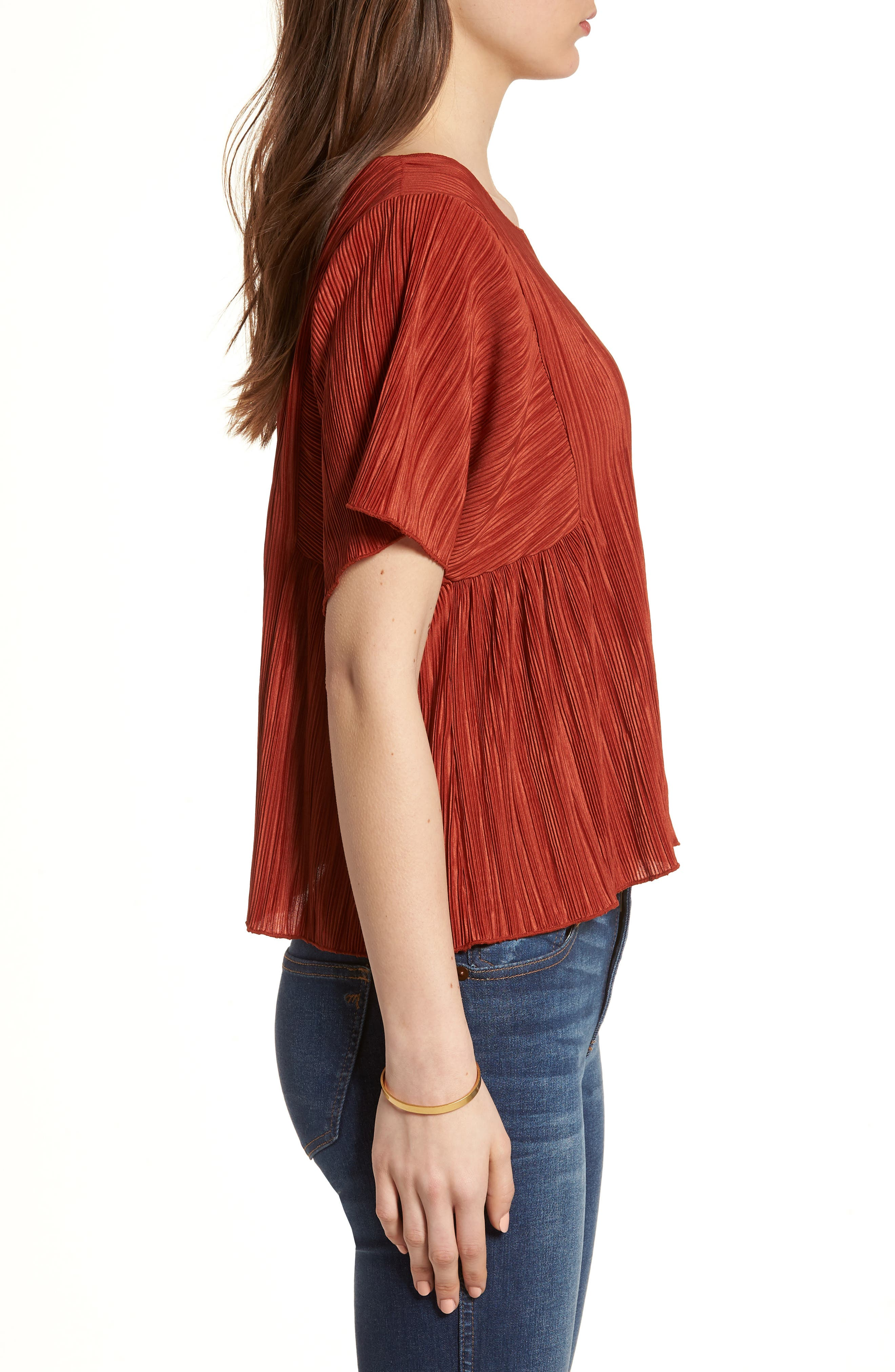 Micropleat Top,                             Alternate thumbnail 3, color,                             Rusty Torch