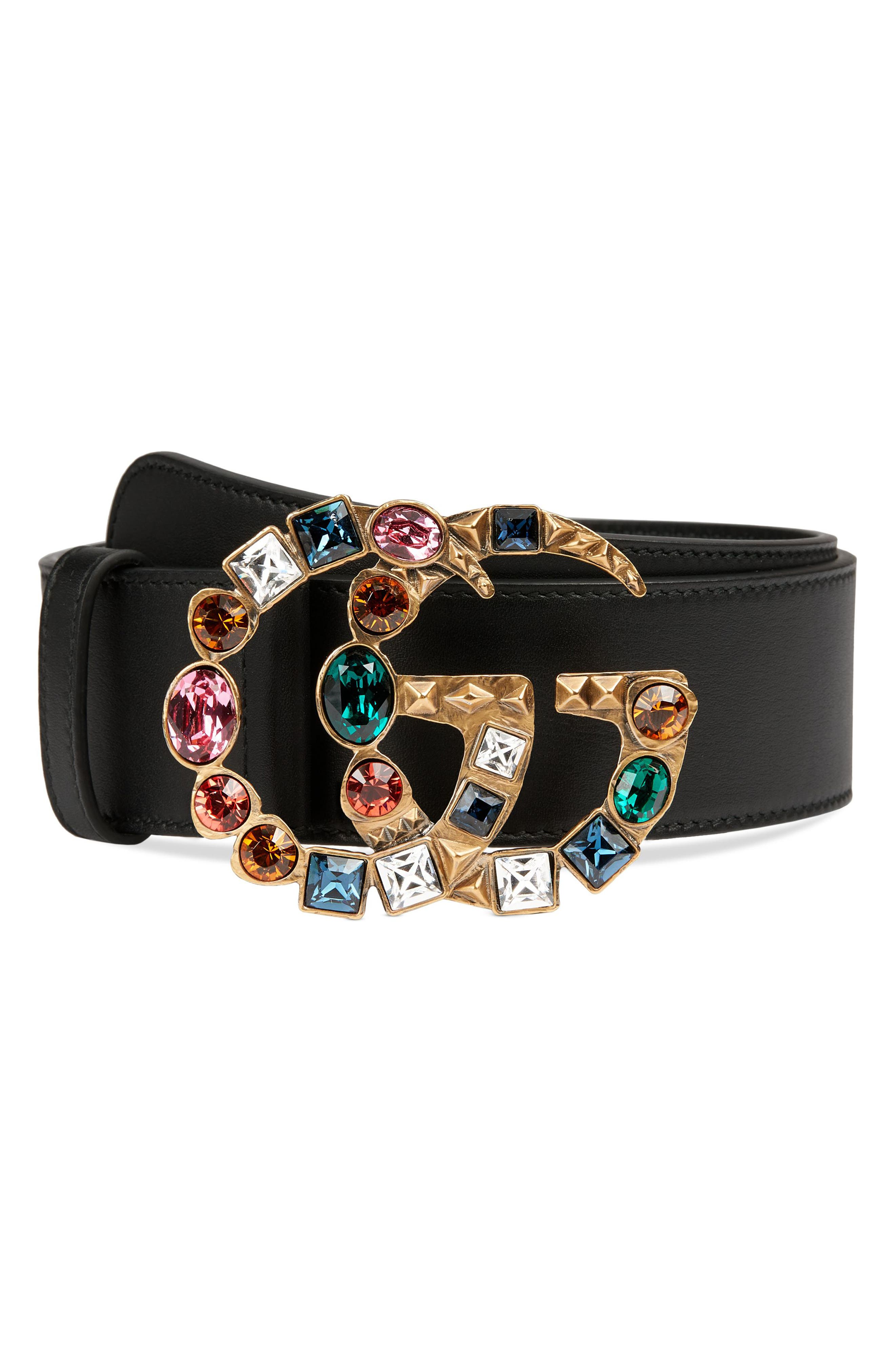 GG Marmont Crystal Buckle Leather Belt,                         Main,                         color, Nero/ Multi