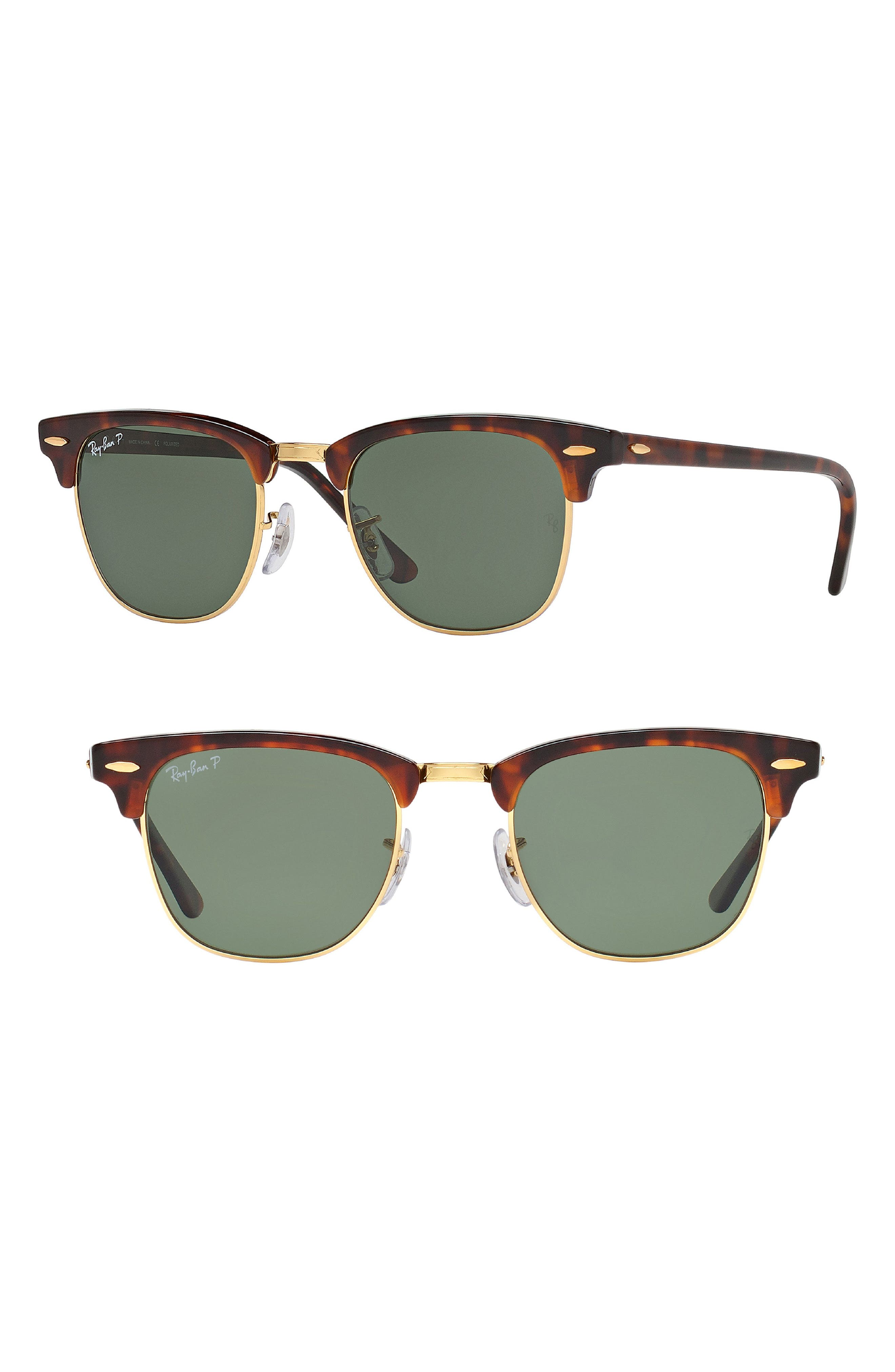 'Classic Clubmaster' 51mm Polarized Sunglasses,                             Main thumbnail 1, color,                             Red Havana