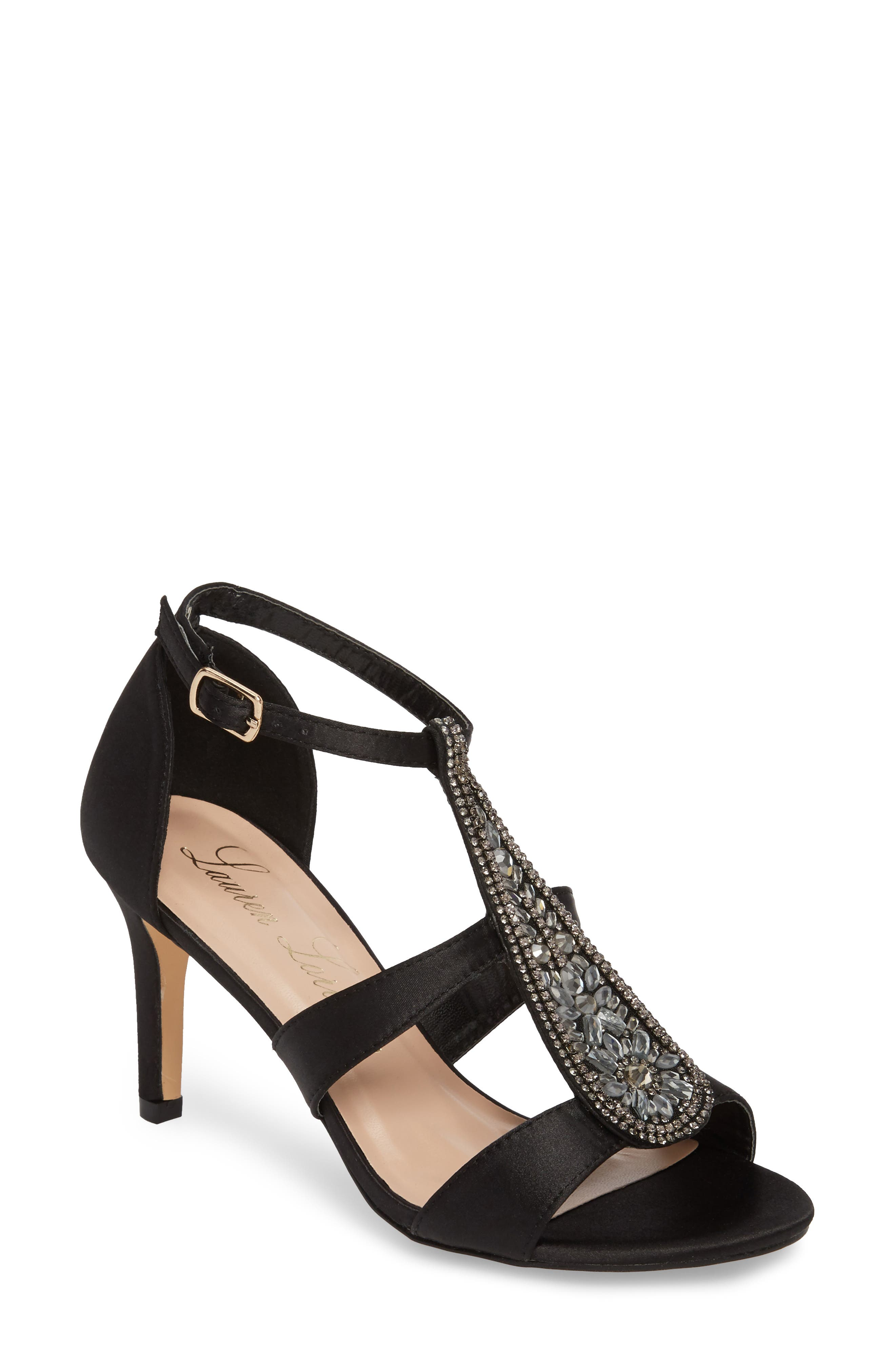Ritz Crystal Embellished Sandal,                             Main thumbnail 1, color,                             Black Fabric