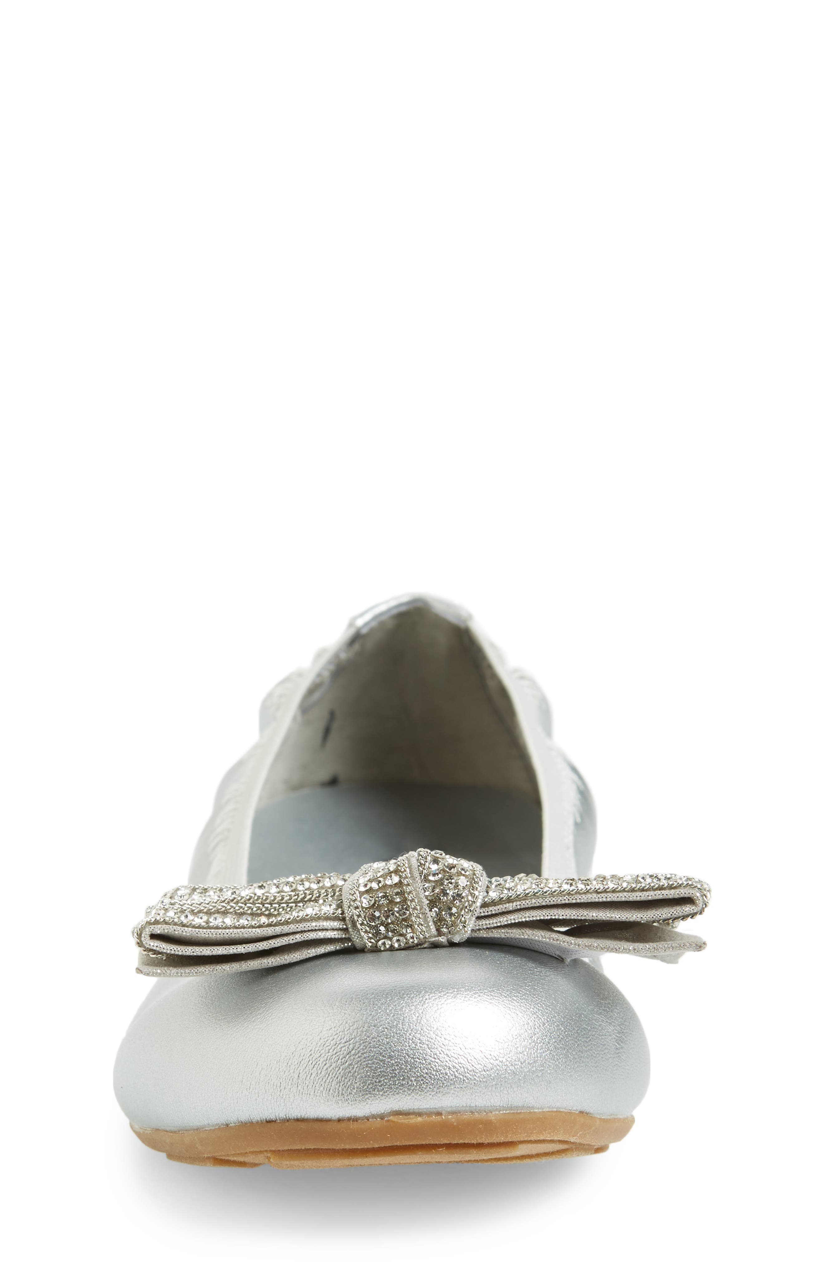 Fannie Embellished Bow Ballet Flat,                             Alternate thumbnail 4, color,                             Silver