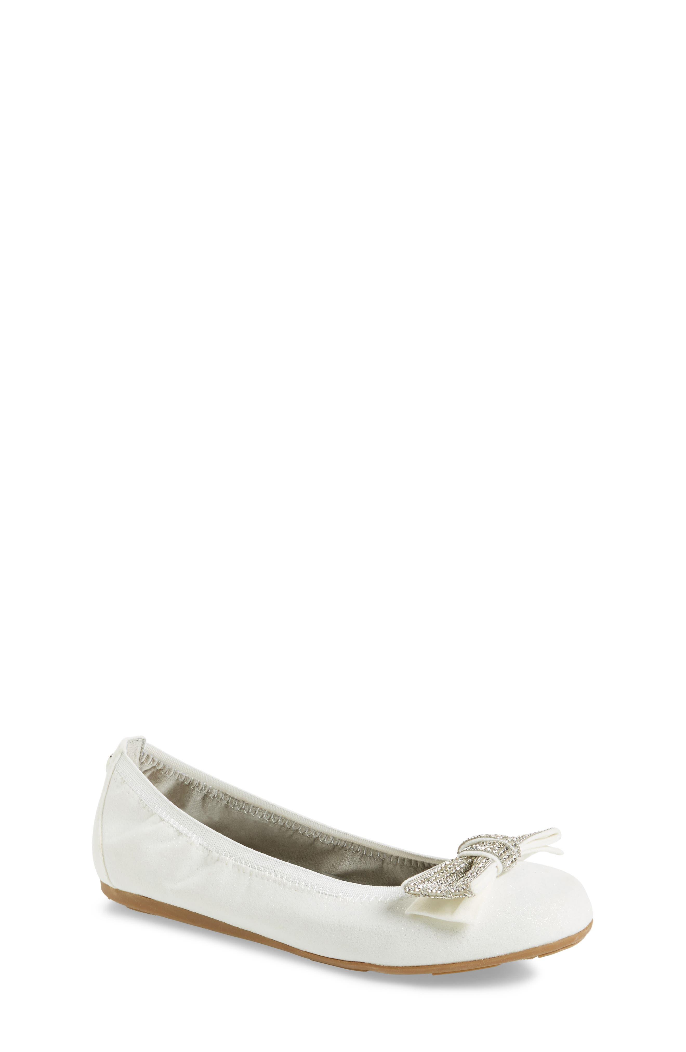 Stuart Weitzman Fannie Embellished Bow Ballet Flat (Toddler, Little Kid & Big Kid)