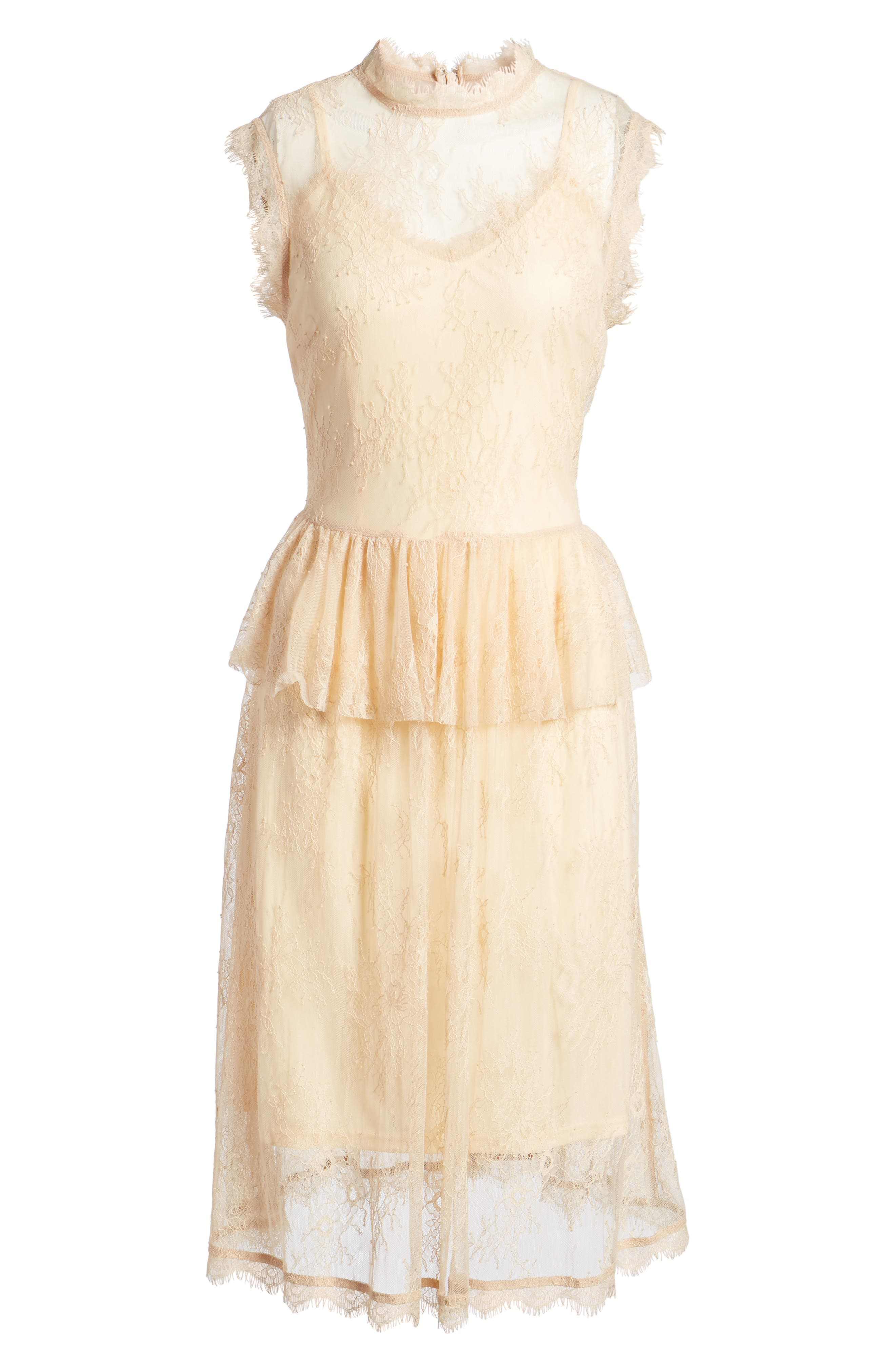 Lace Fit & Flare Dress,                             Alternate thumbnail 6, color,                             Nude