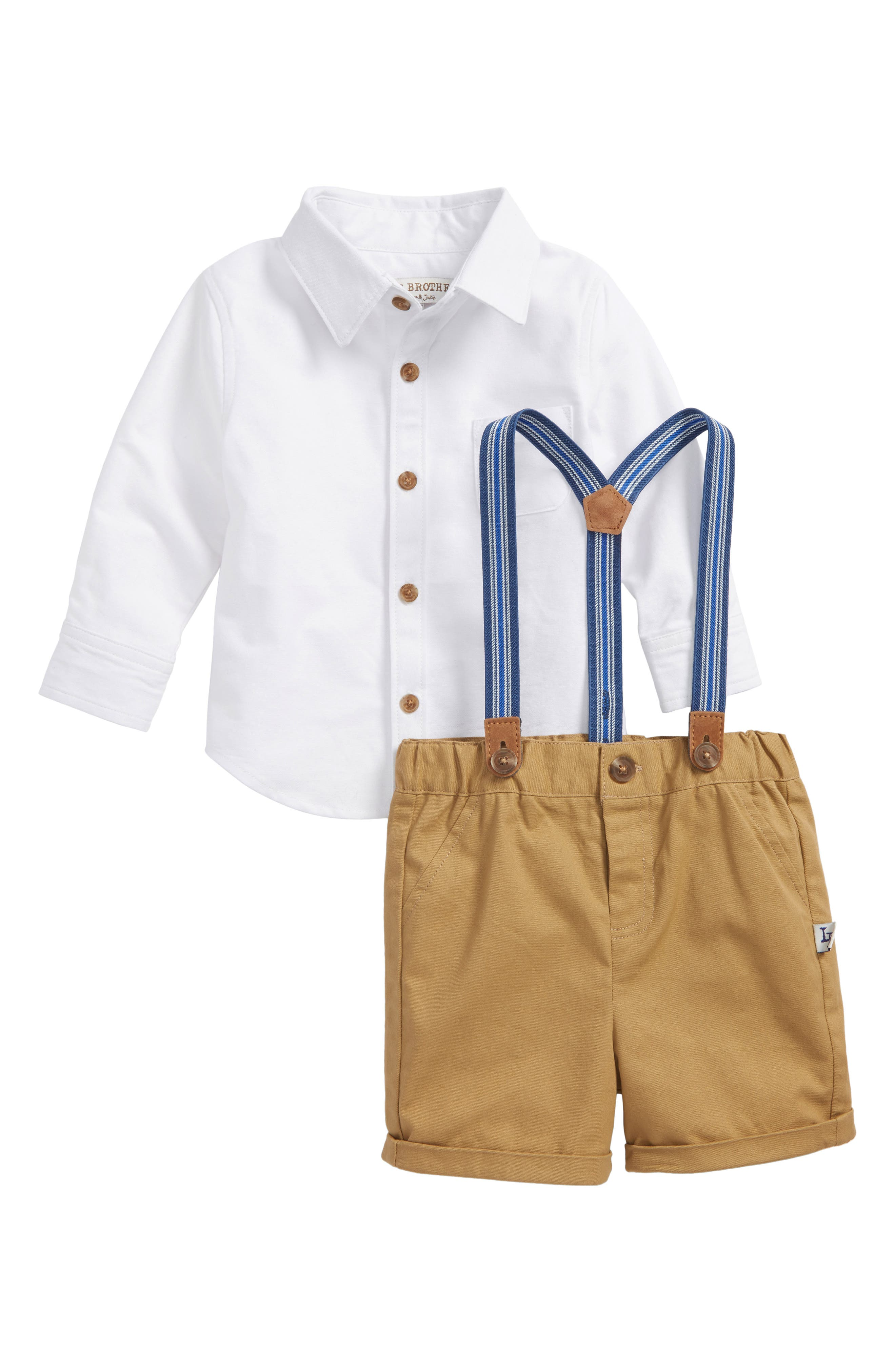 Main Image - Little Brother by Pippa & Julie Shirt & Suspender Shorts Set (Baby Boys)