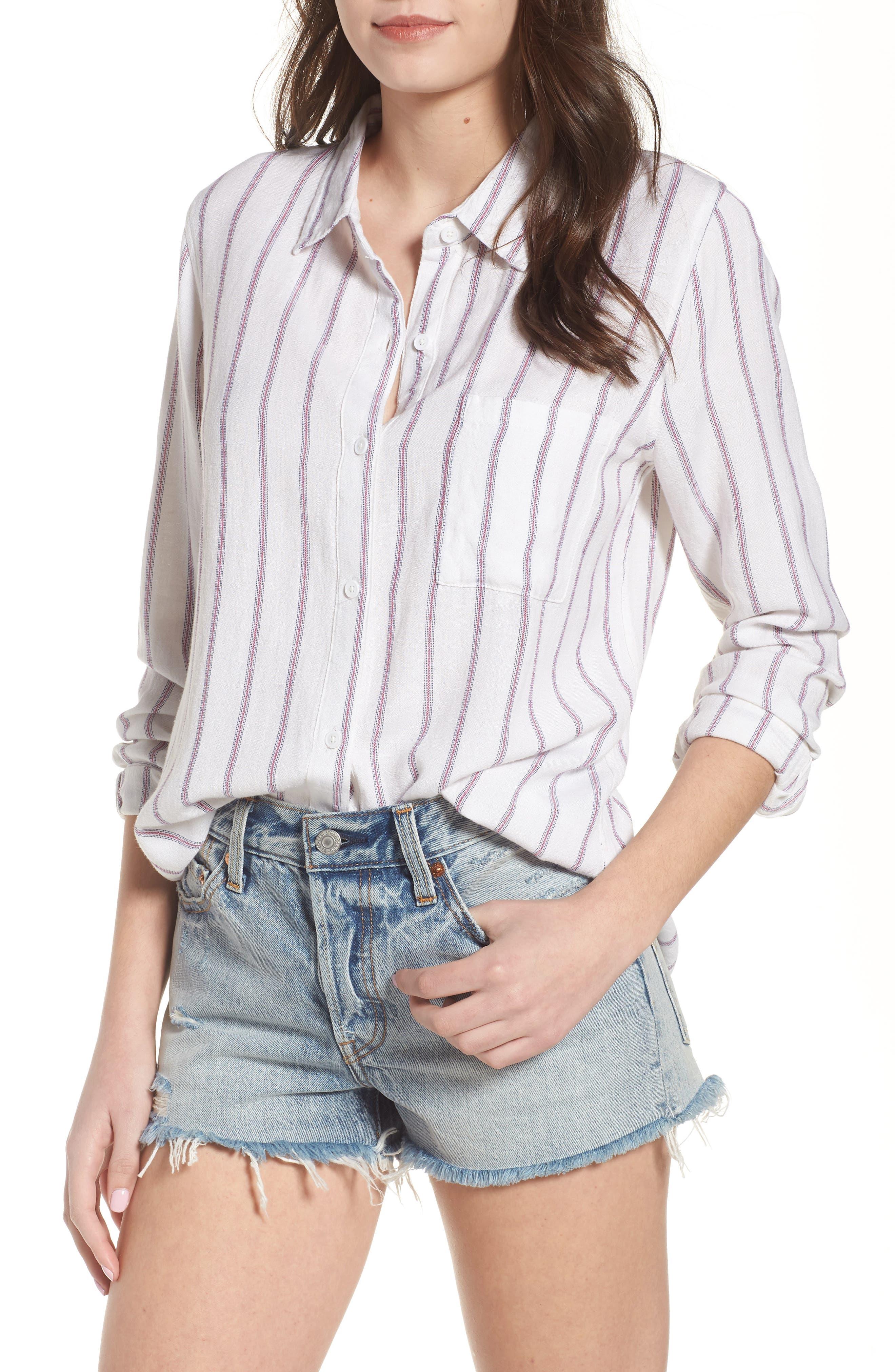 Rose Stripe Shirt,                         Main,                         color, Red Stripe