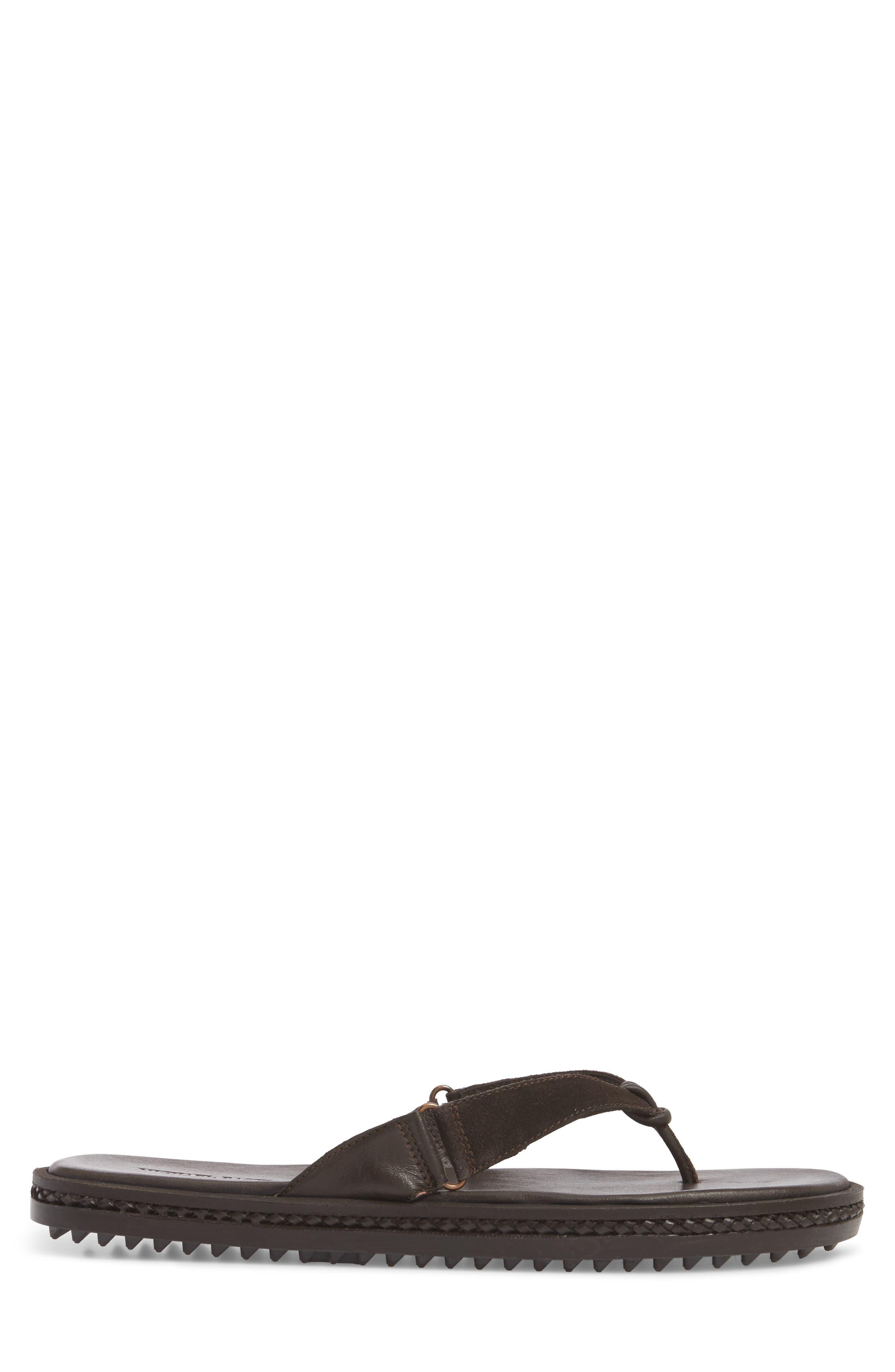 Michael Bastain Flip Flop,                             Alternate thumbnail 3, color,                             Brown Leather
