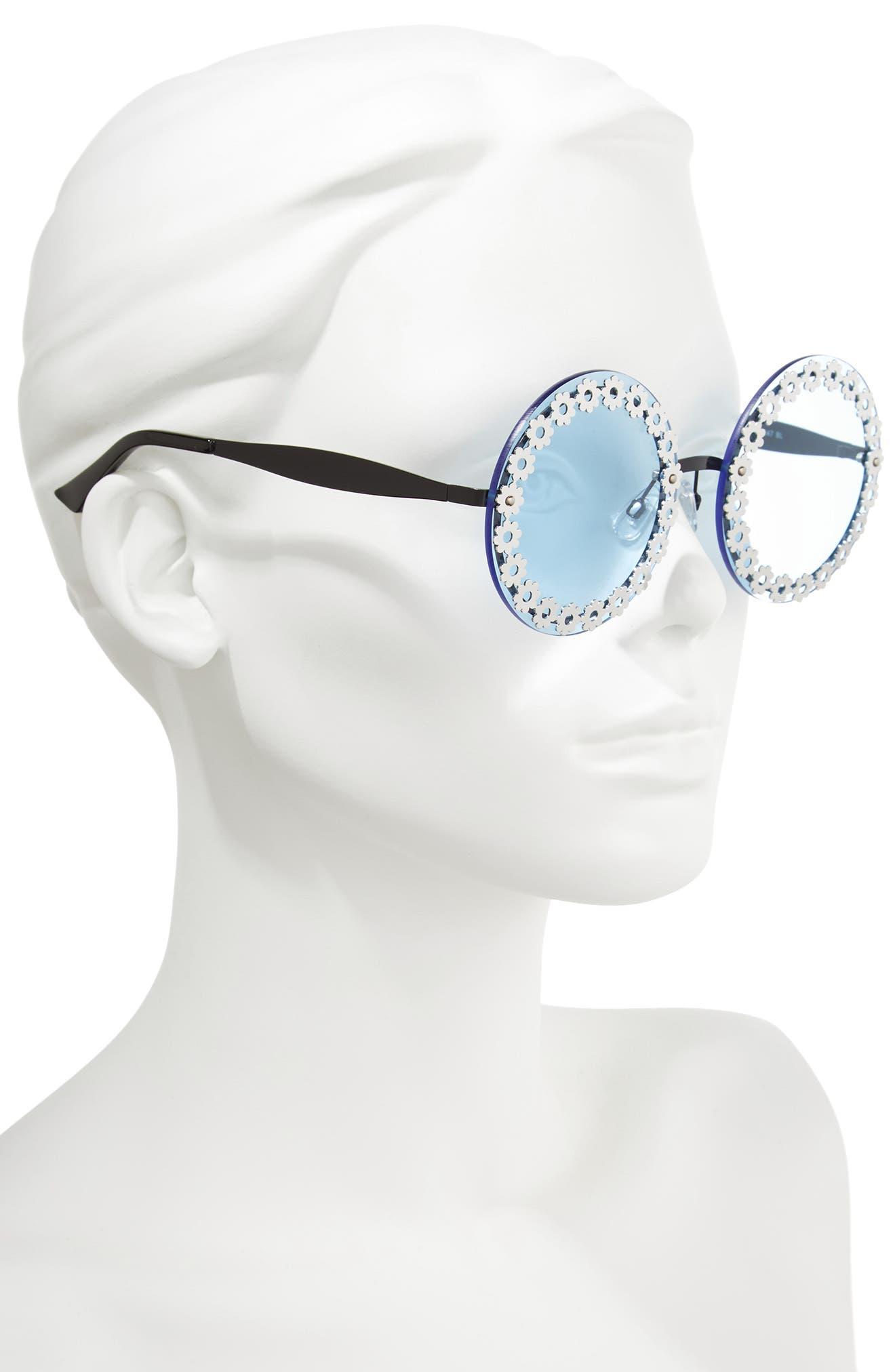 60mm Round Sunglasses,                             Alternate thumbnail 2, color,                             Blue/ Black