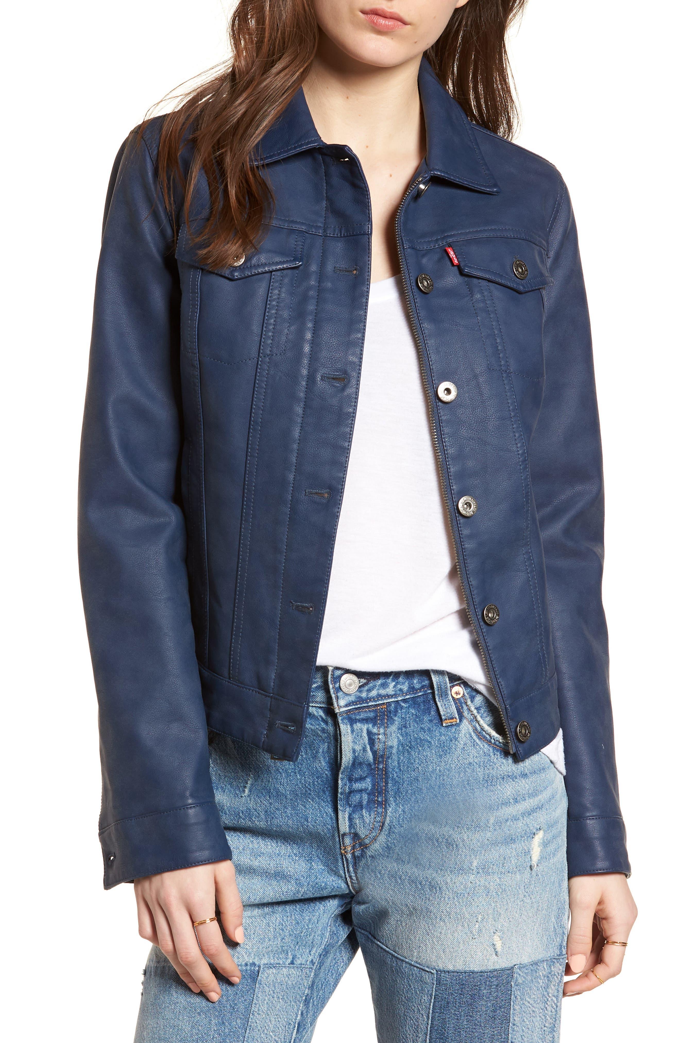 Faux Leather Trucker Jacket,                         Main,                         color, Pale Indigo