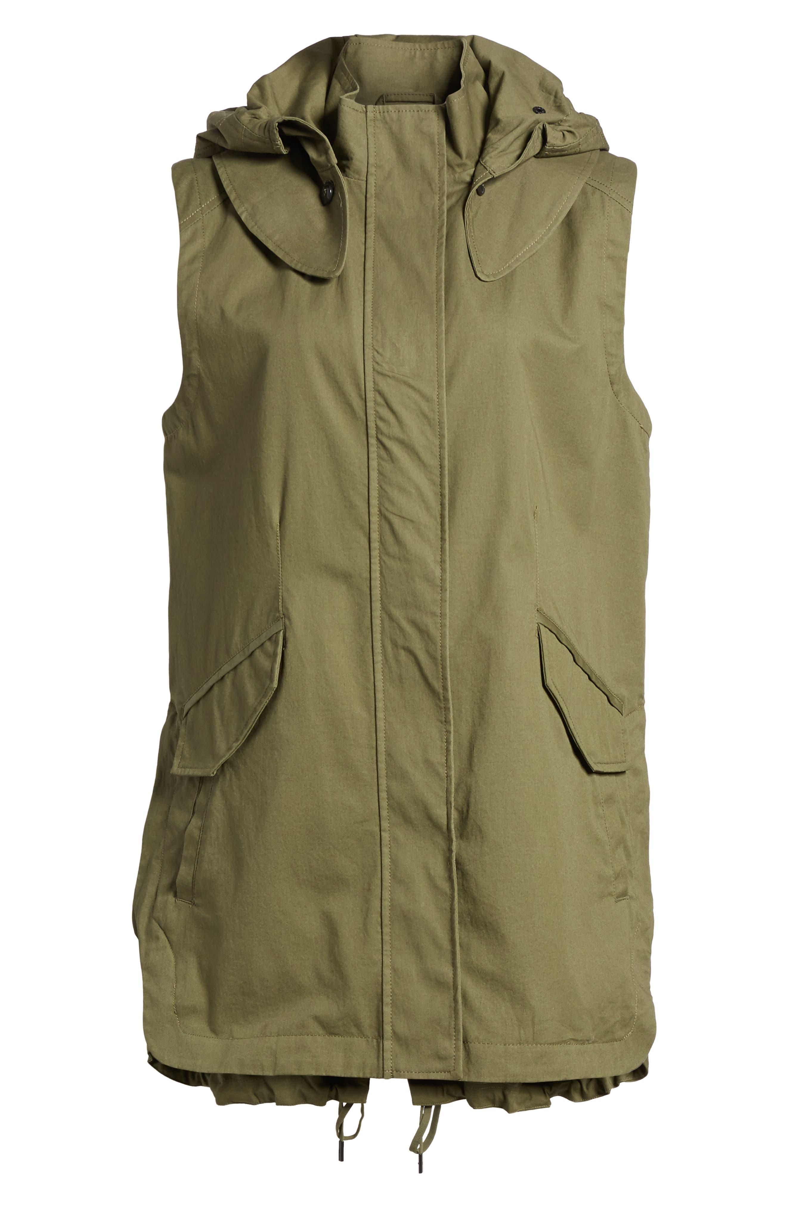 Elongated Hooded Vest,                             Alternate thumbnail 7, color,                             Loden