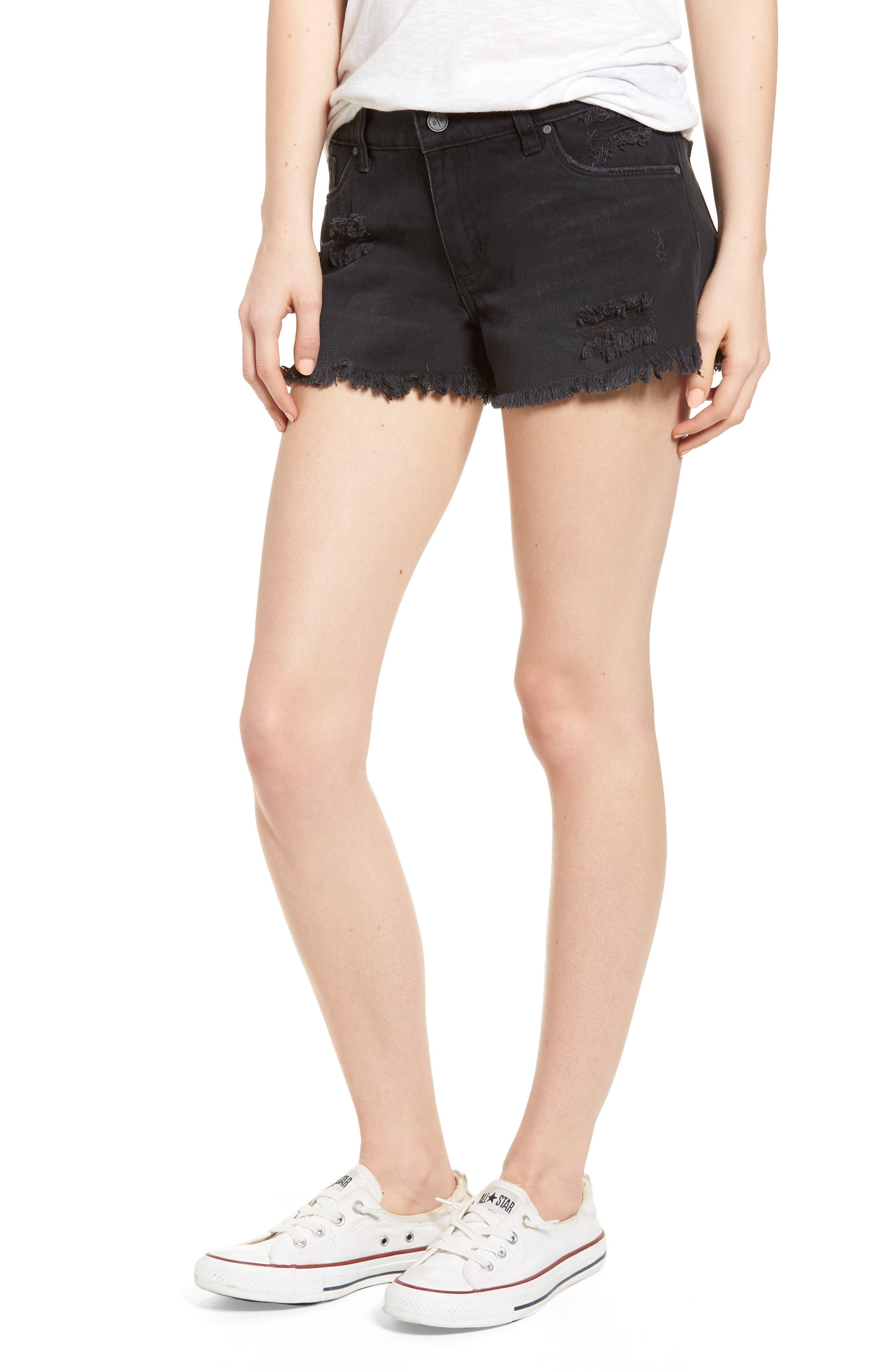 Fray Hem Denim Shorts,                         Main,                         color, Black