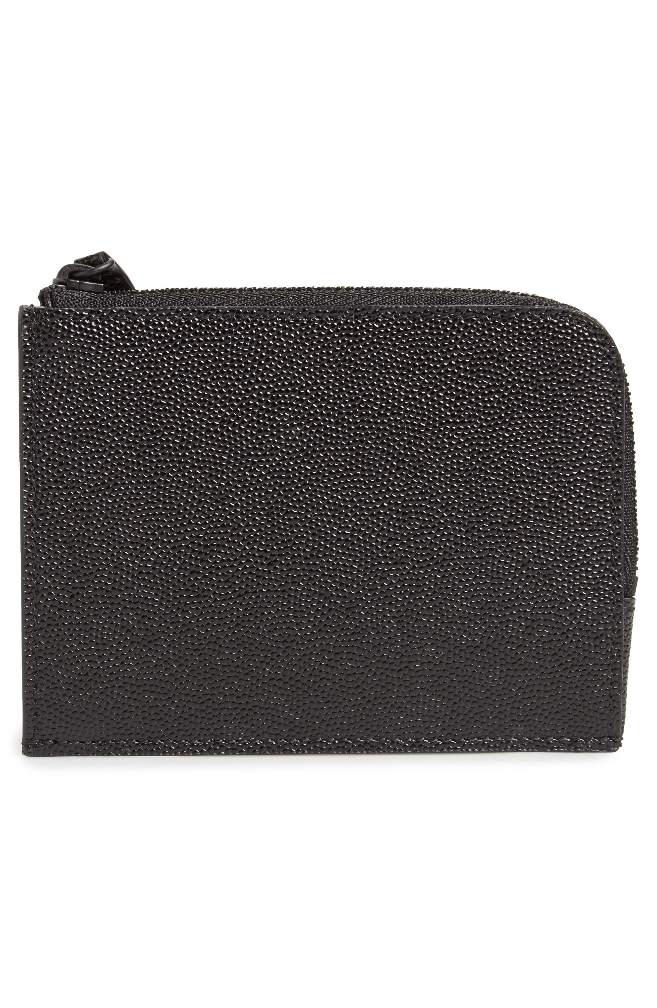 Pebble Leather Zip Wallet,                             Alternate thumbnail 3, color,                             Black