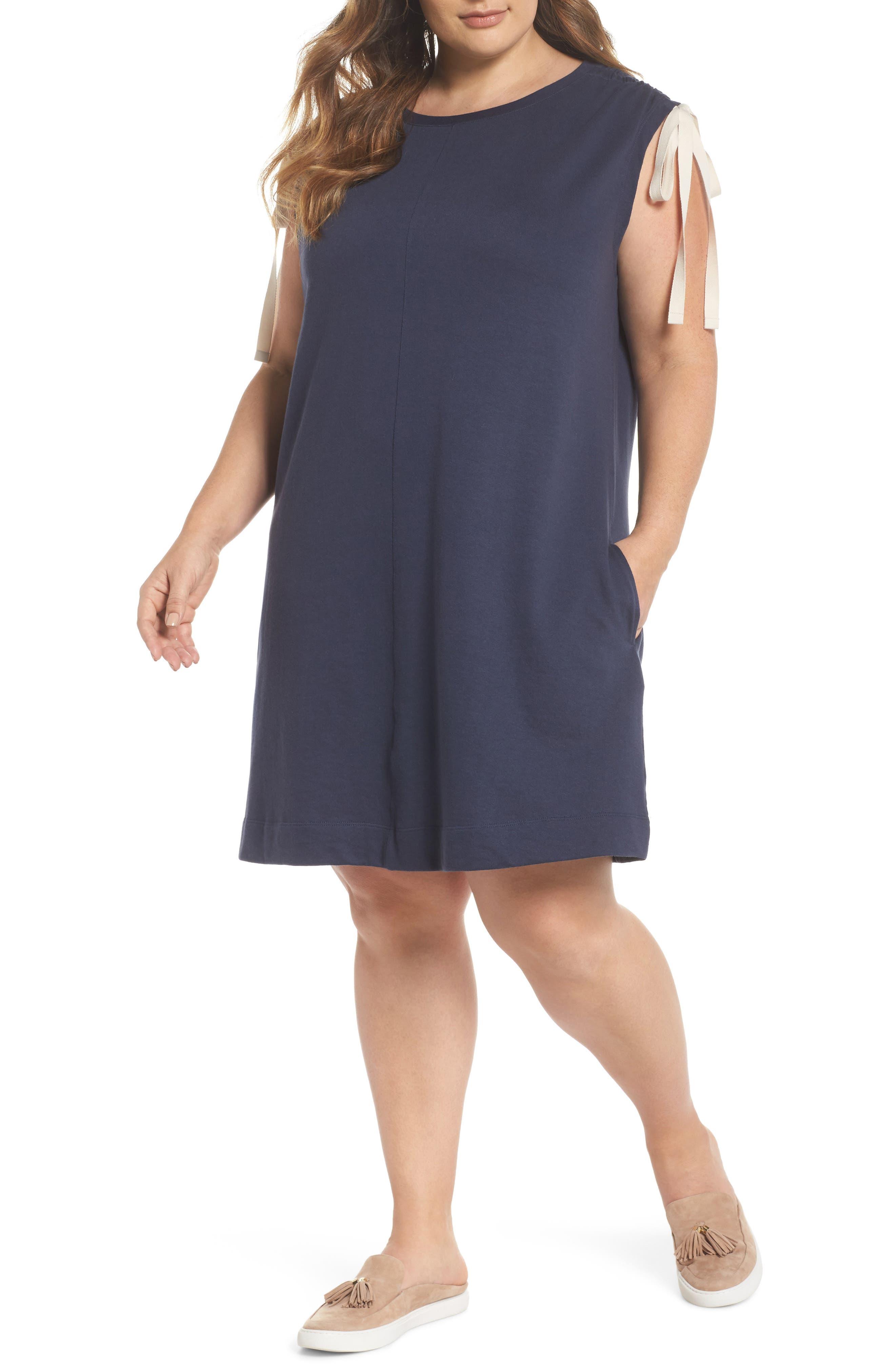 Ruched Shoulder Shift Dress,                             Main thumbnail 1, color,                             Navy Indigo